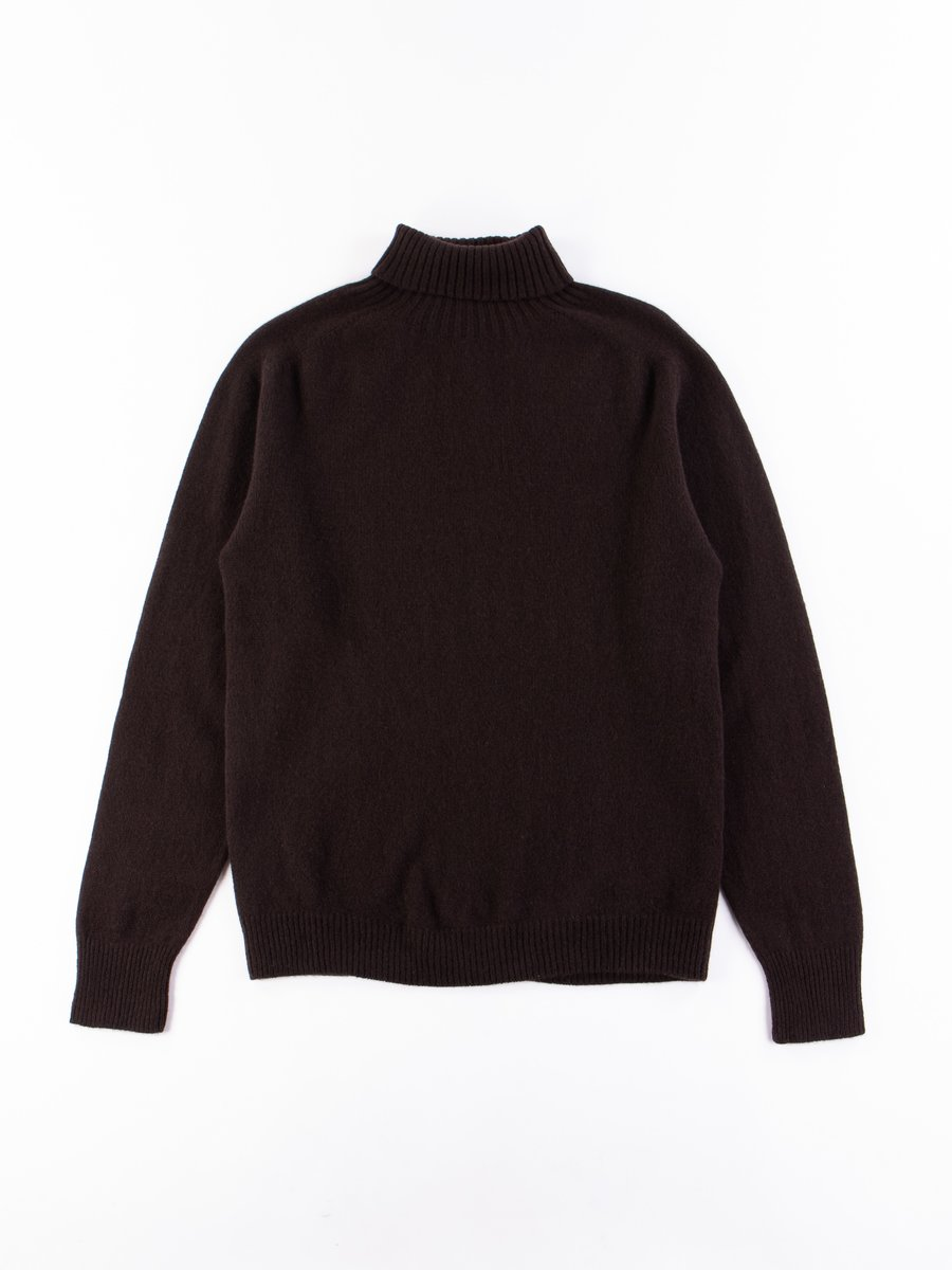Chocolate Merino/Cashmere Roll Neck Sweater