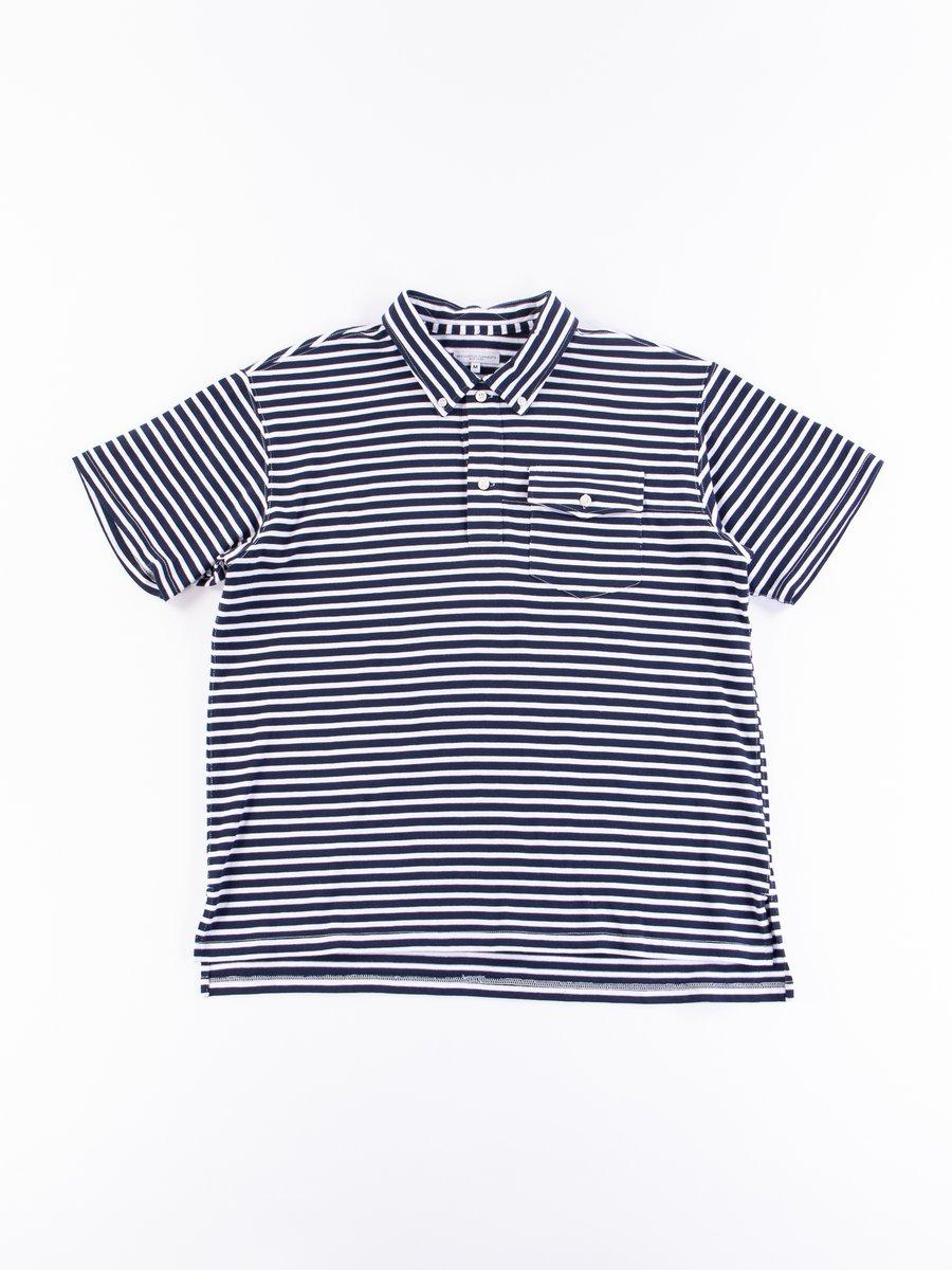 Navy/White PC Stripe Jersey Knit Polo