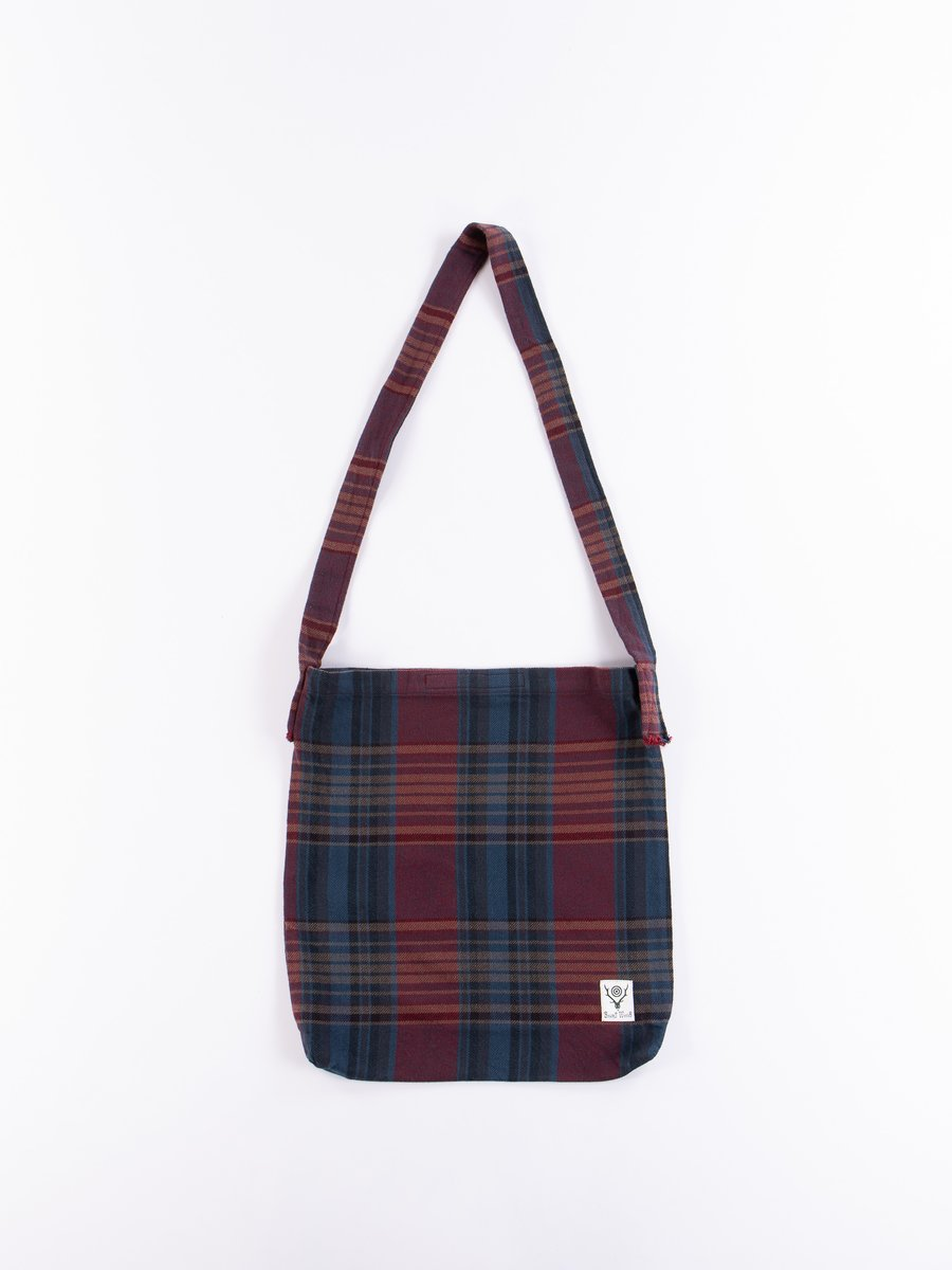 Navy/Red Plaid Twill Book Bag