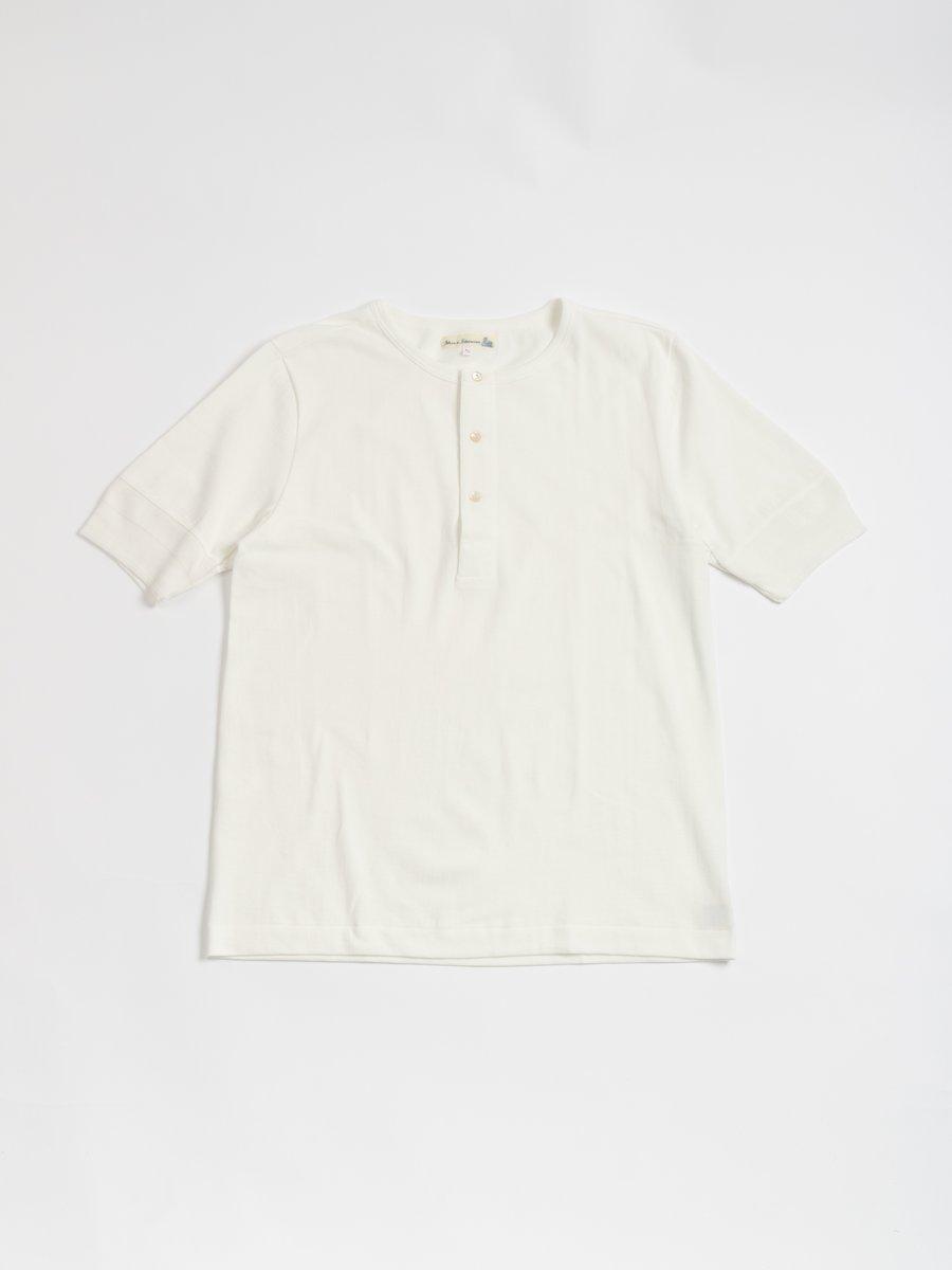 207 LOOP–WHEELED HENLEY WHITE
