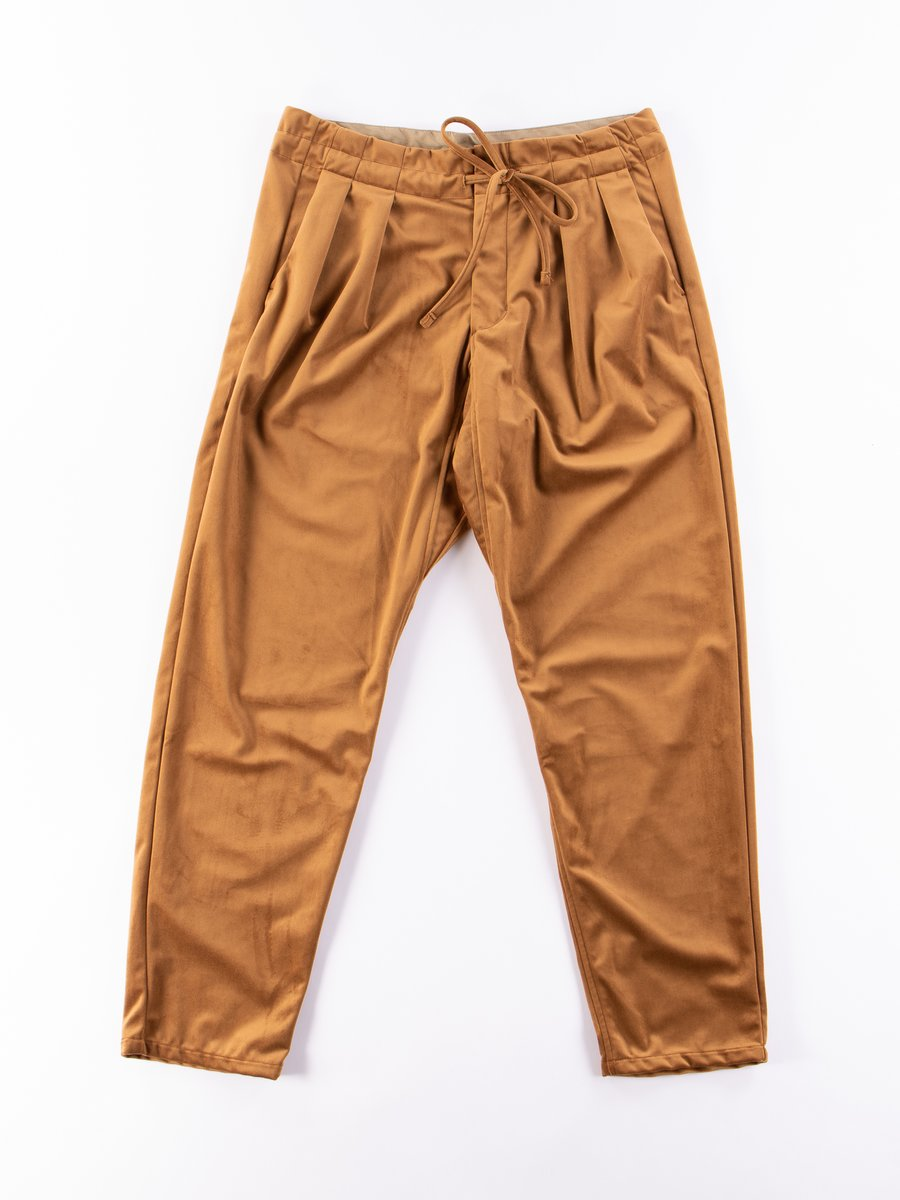 Golden Brown Silky Velvet Drop Crotch Pant