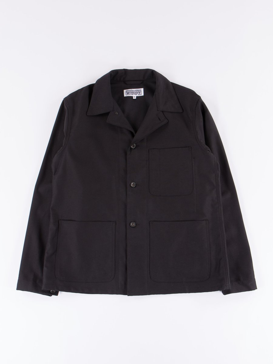 Black Reversed Sateen Utility Jacket