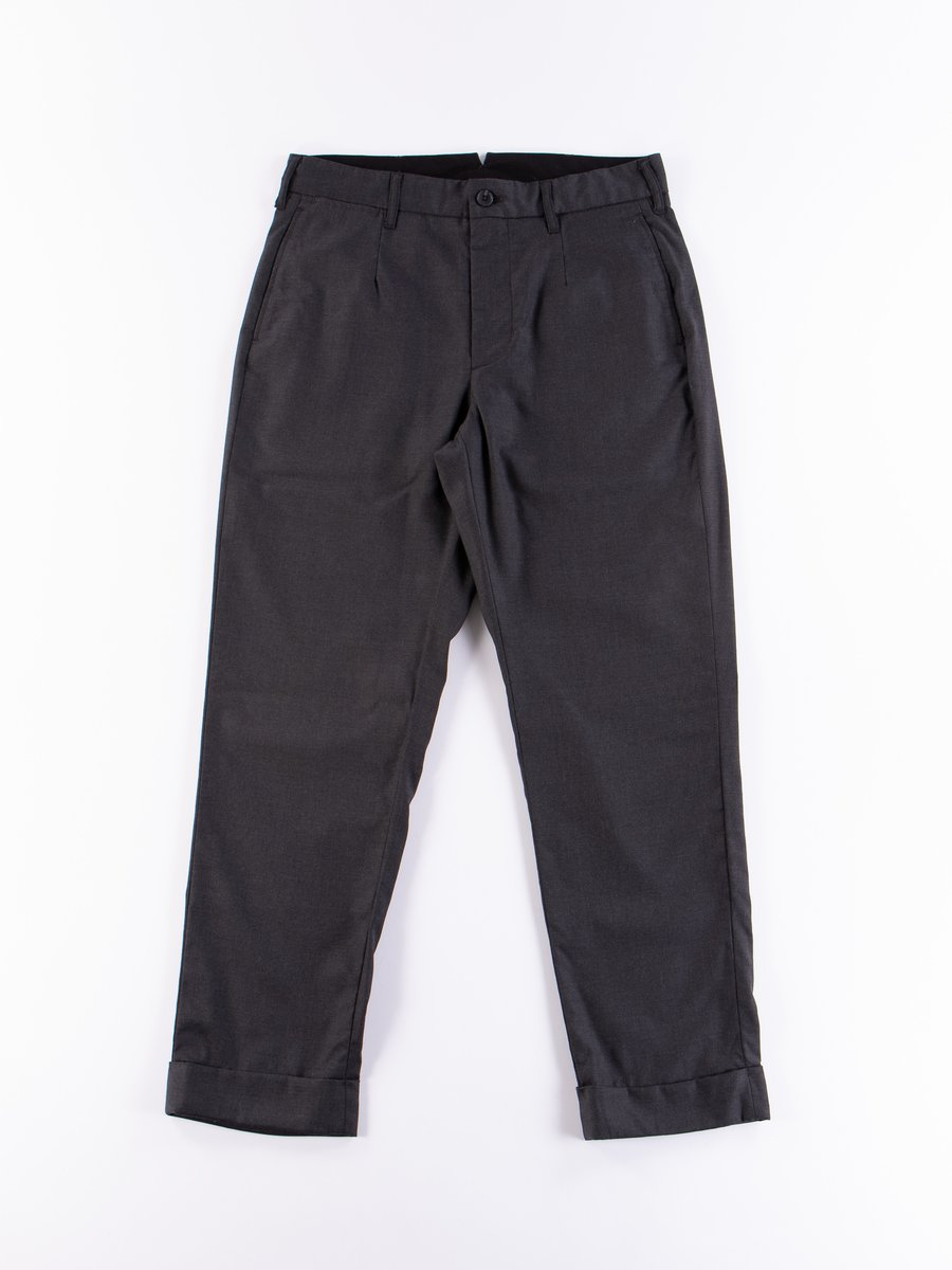 Charcoal Worsted Wool Gabardine Andover Pant