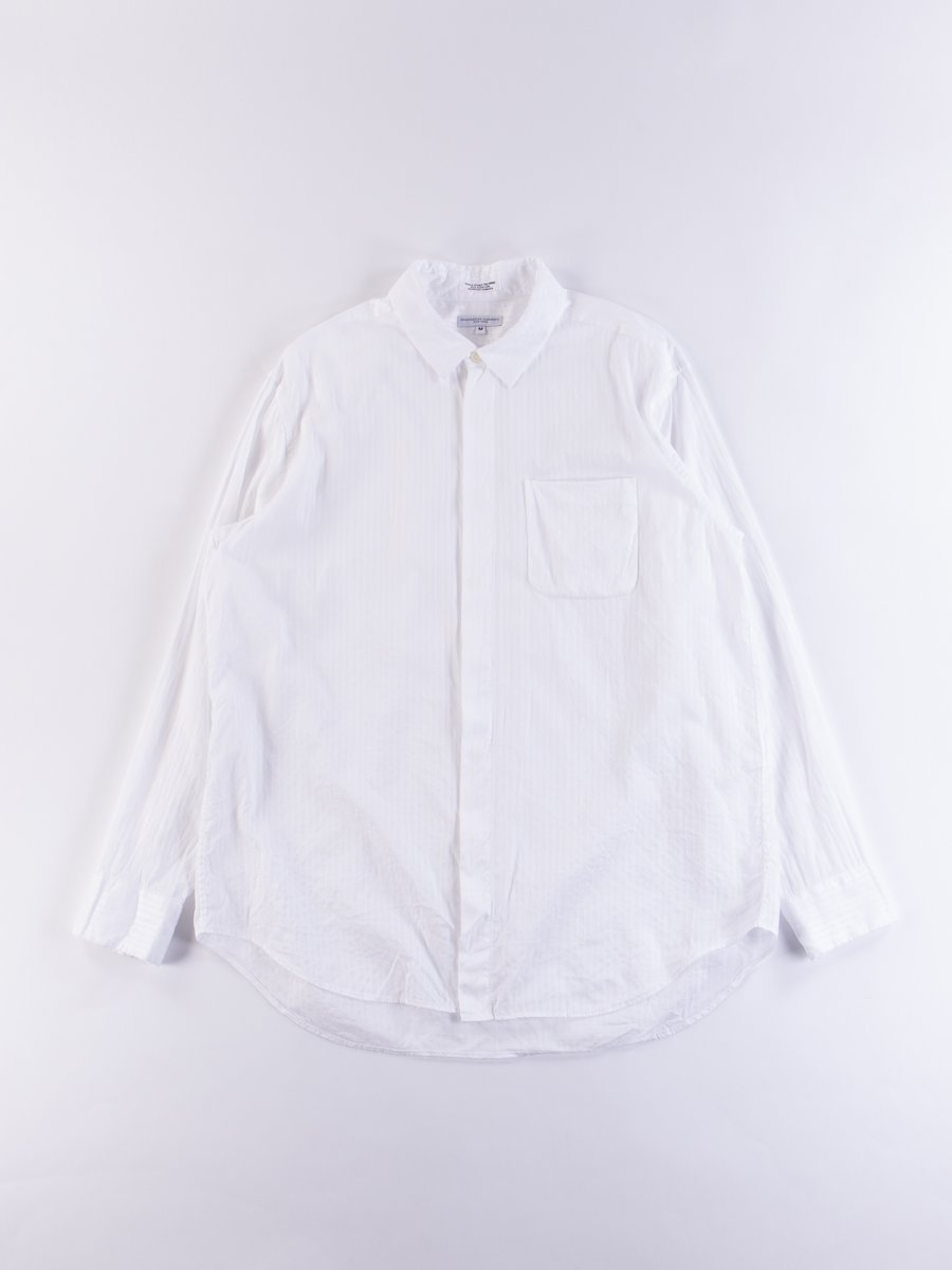 White Tone/Tone Dobby Stripe Short Collar Shirt