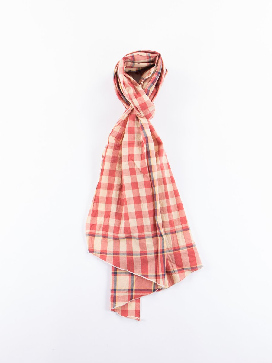 Orange/Yellow/Navy Big Plaid Madras Long Scarf