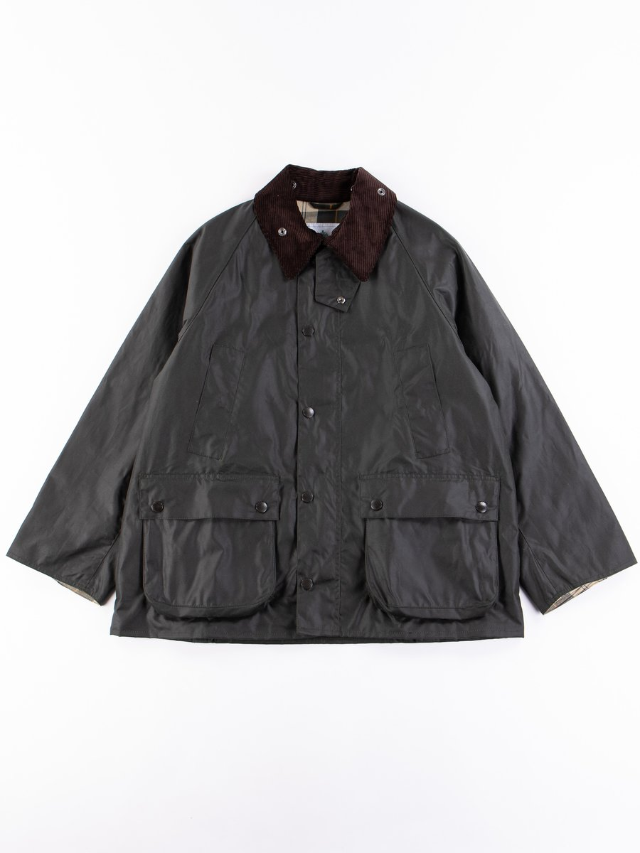 Sage Oversized Bedale Waxed Cotton Jacket