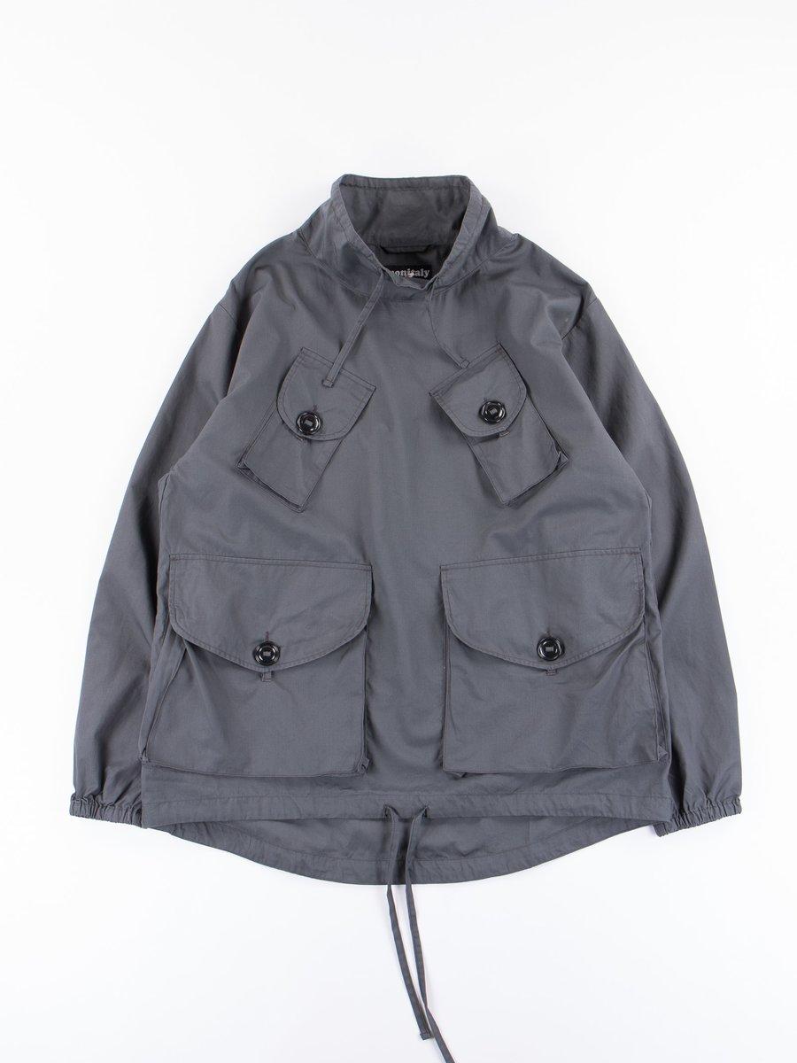 Charcoal Poplin Vancloth Mil Mock Neck Pullover