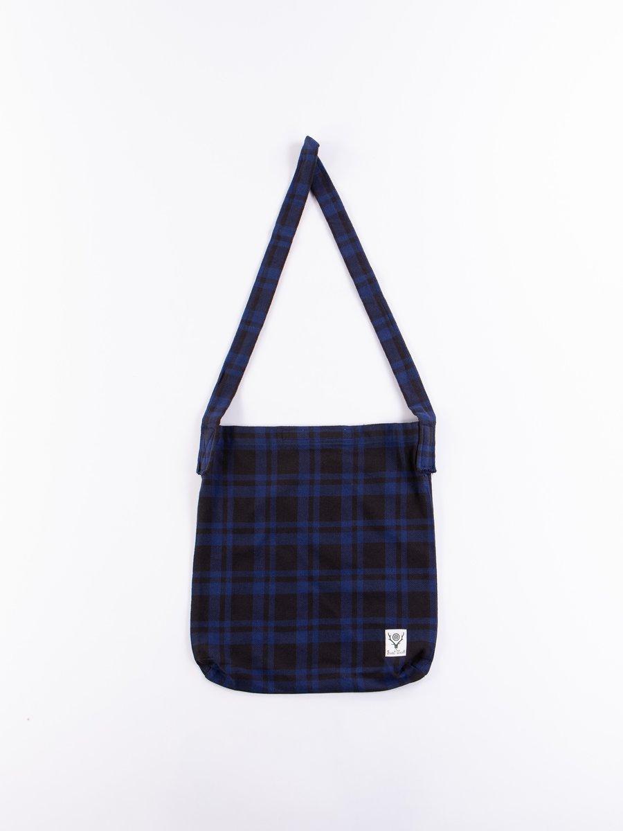 Blue/Black Plaid Twill Book Bag