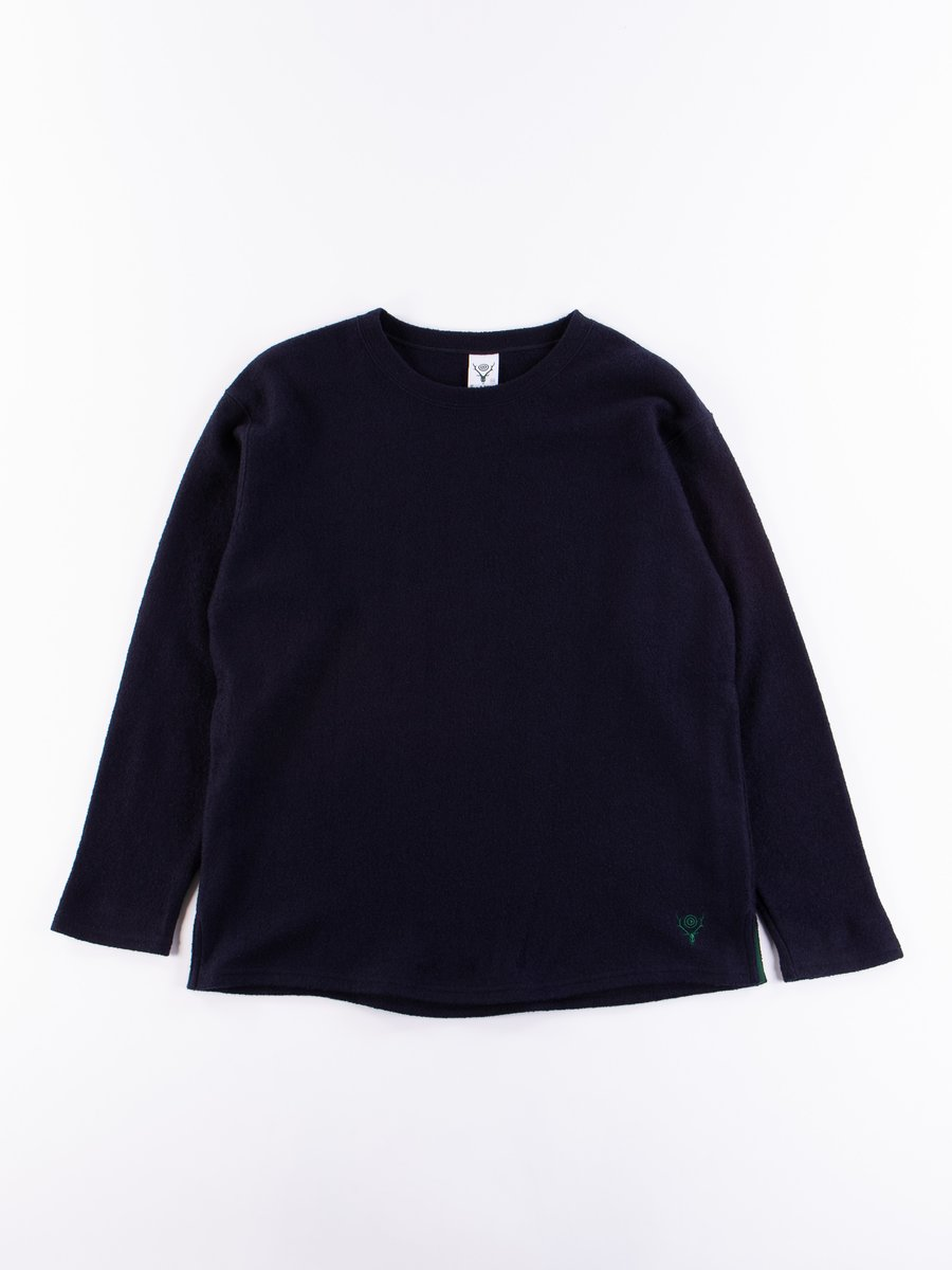 Navy Silver Knit Crew Neck Shirt