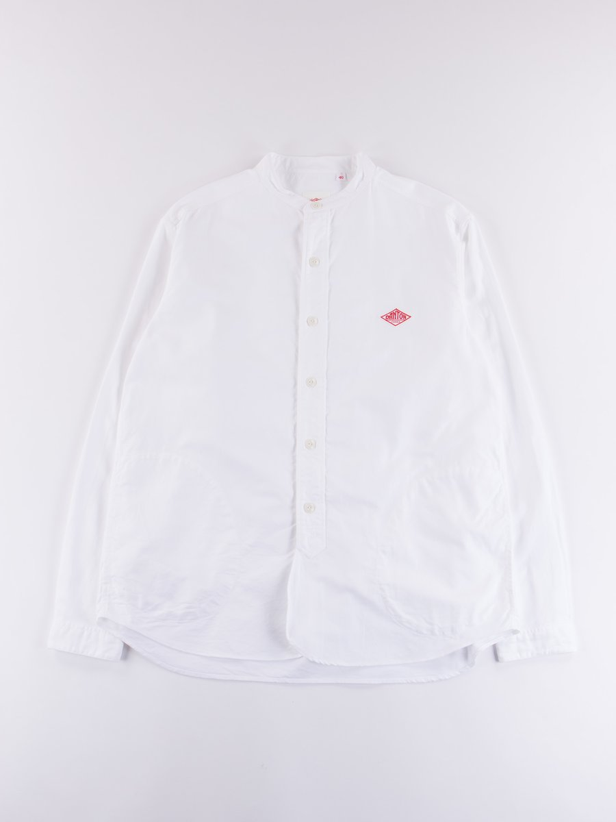 White Oxford Banded Collar Shirt