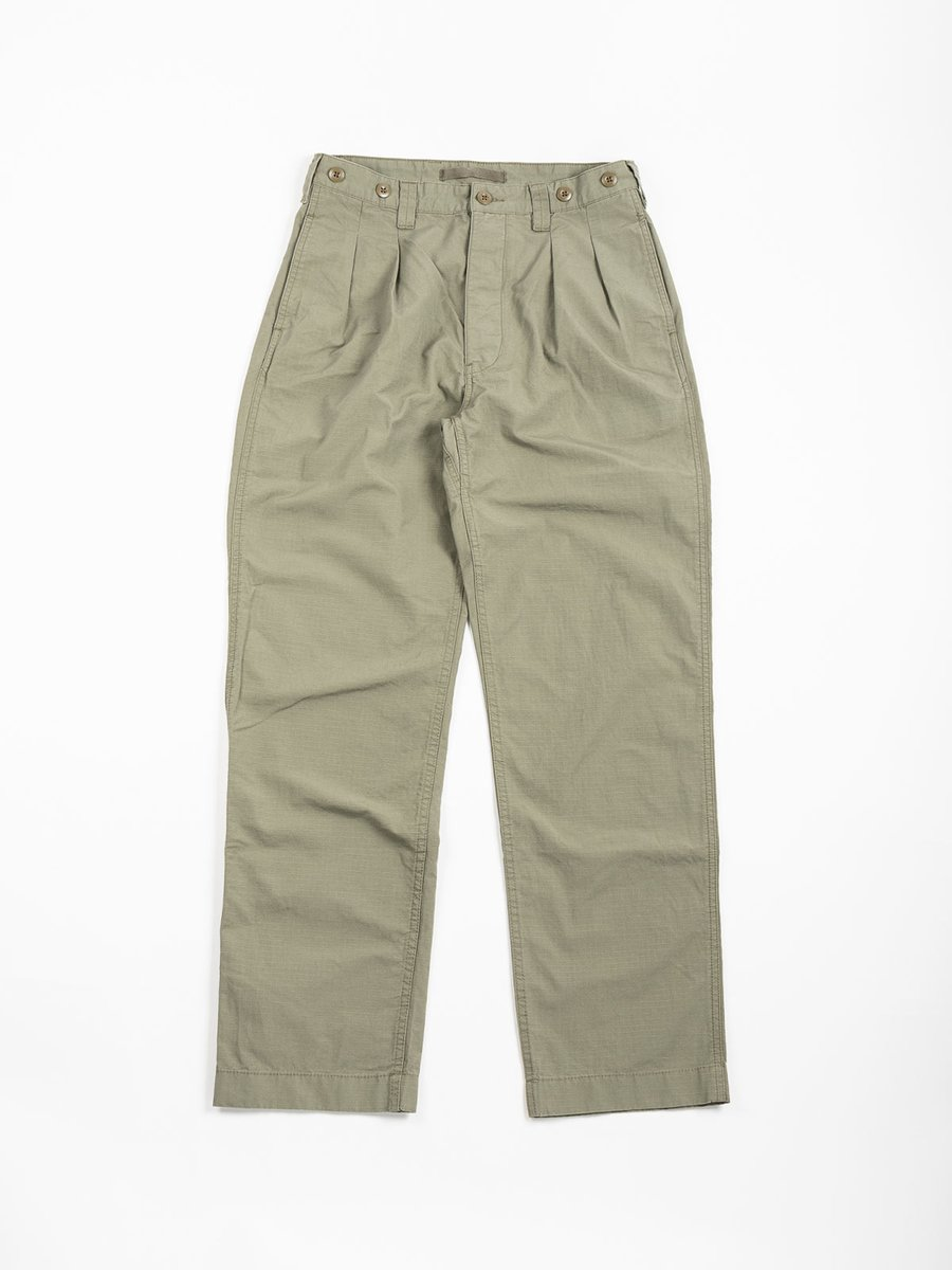 PLEATED CHINO COTTON RIPSTOP ARMY