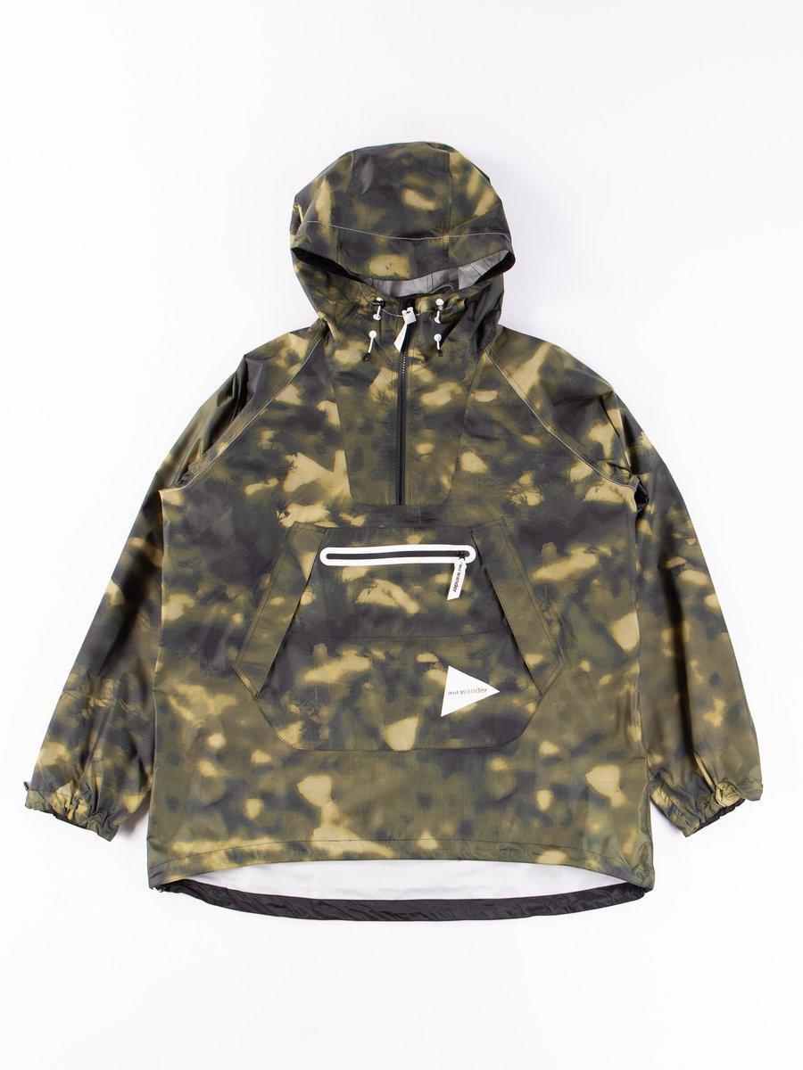 Khaki Printed Fly Rain Anorak Hoodie