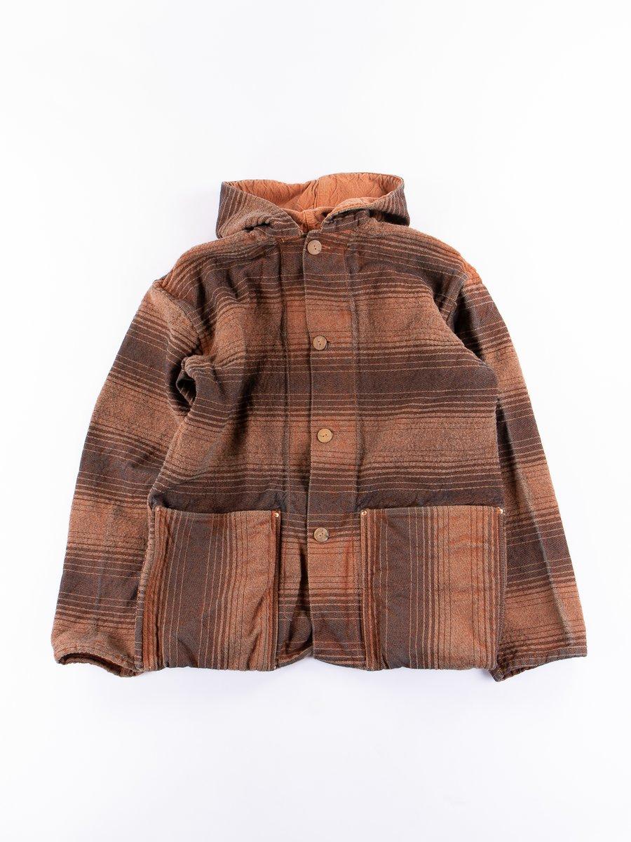 Red Ochre Dye Doppler Stripe Hooded Shepherd's Coat