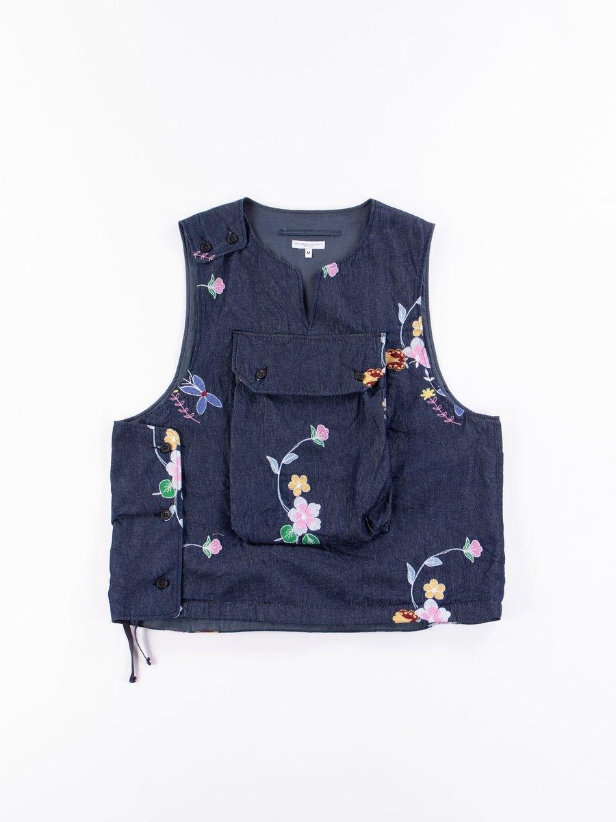 Indigo Denim Floral Embroidery Cover Vest
