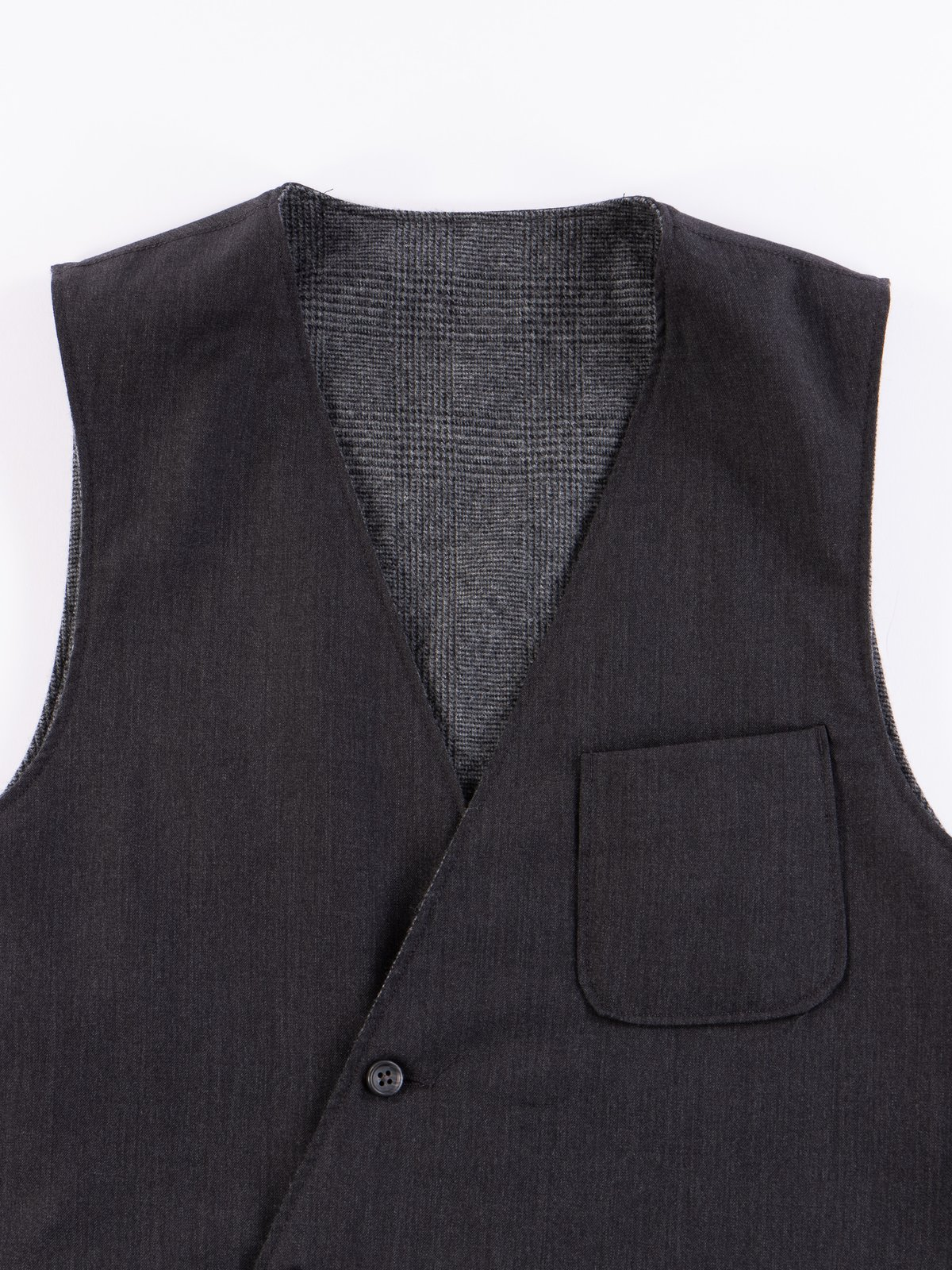 Charcoal Worsted Wool Gabardine Reversible Vest - Image 3