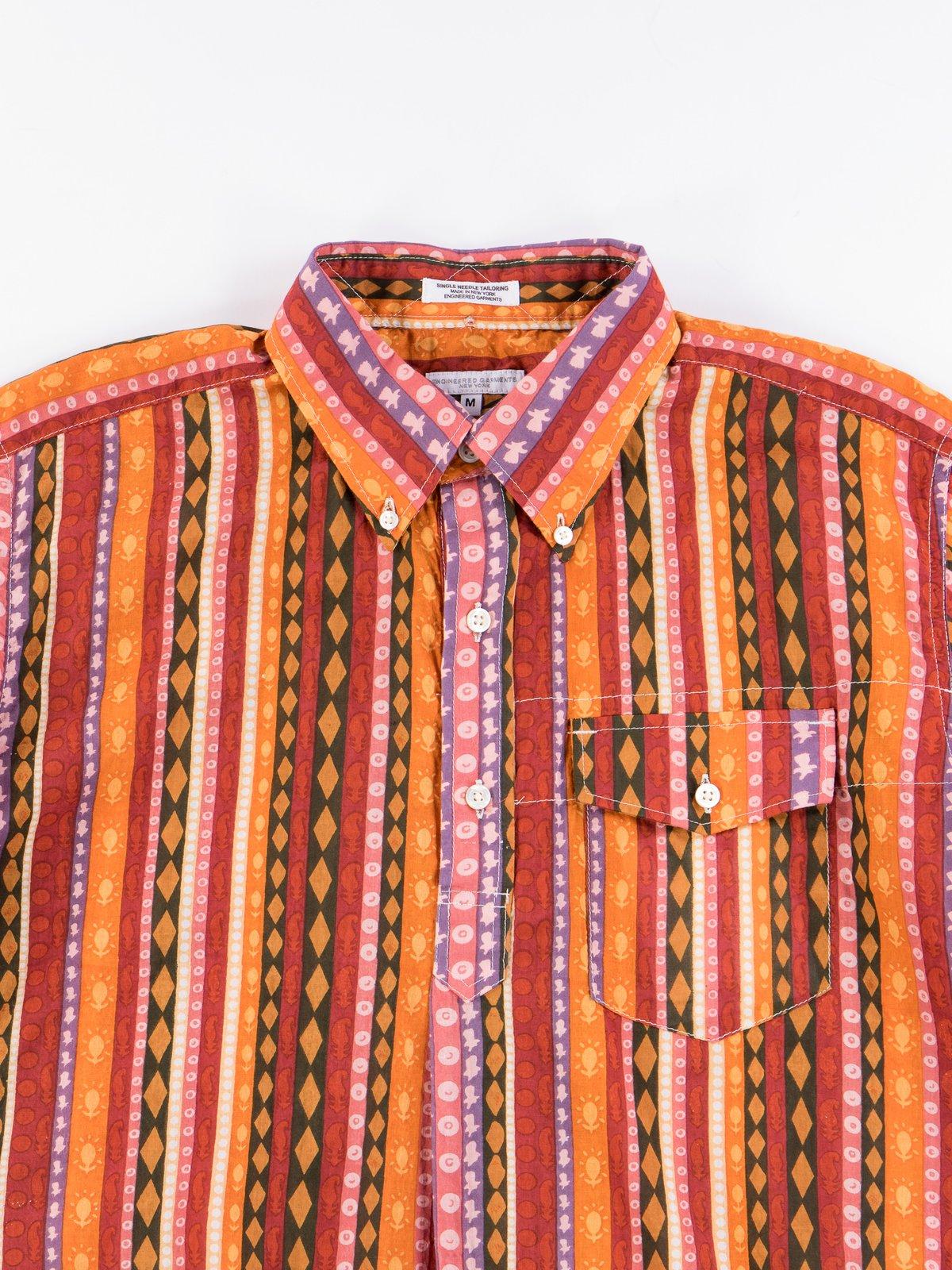 Orange Cotton Lawn Batik Stripe Popover BD Shirt - Image 2