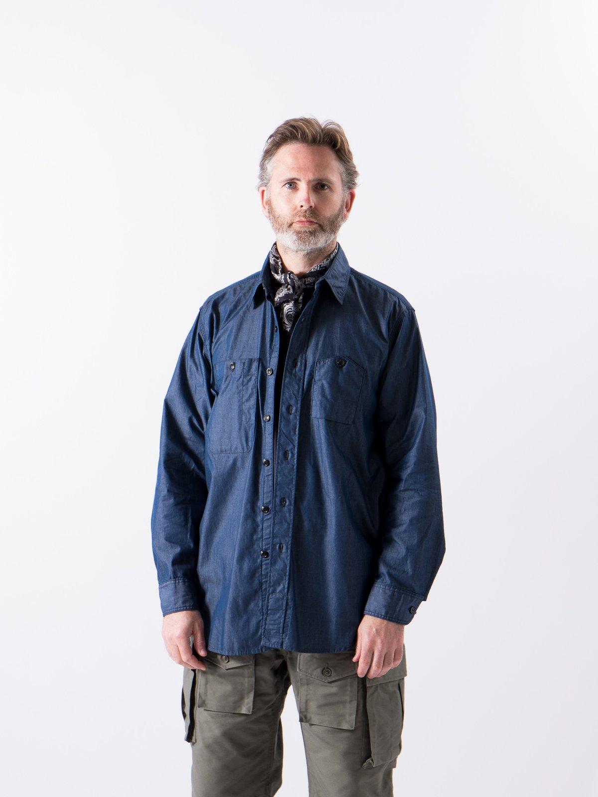 Dark Blue Light Weight Denim Work Shirt - Image 2