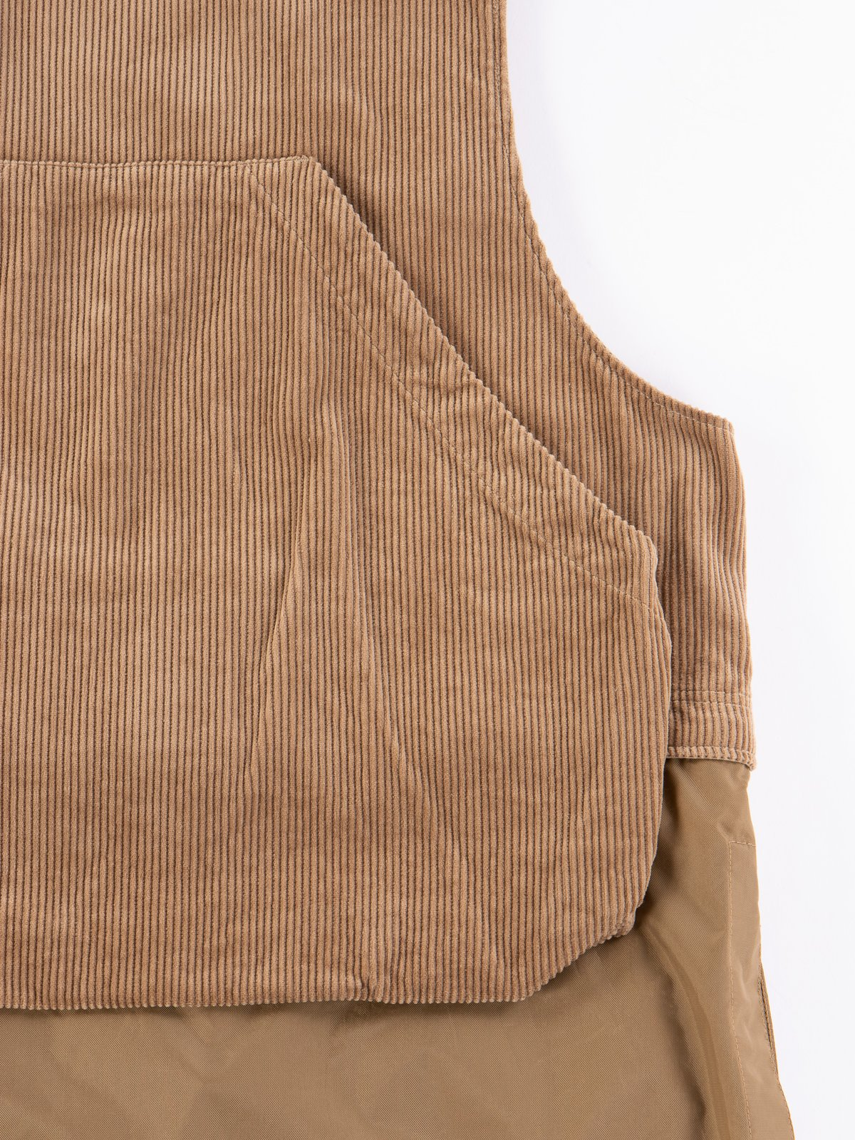Khaki 8W Corduroy Long Fowl Vest - Image 8