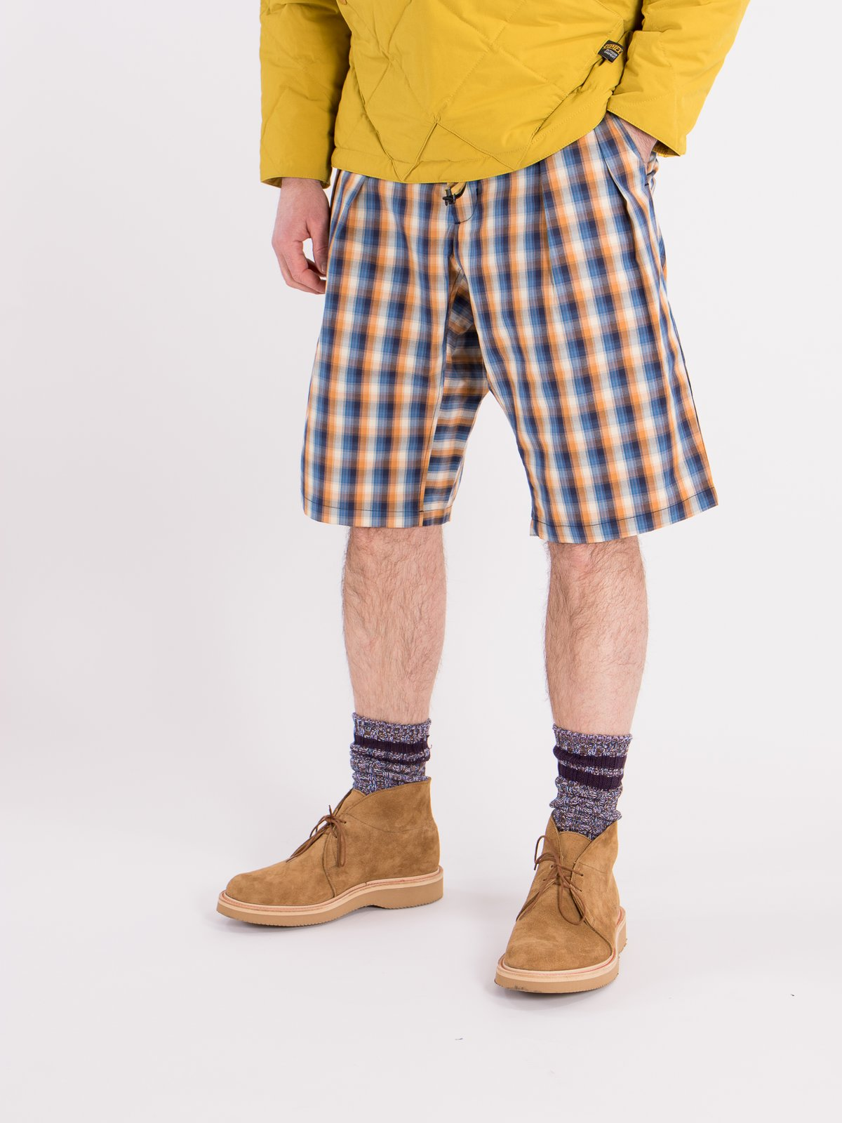 Blue/Orange Plaid Oxford Vancloth Drop Crotch Shorts - Image 2