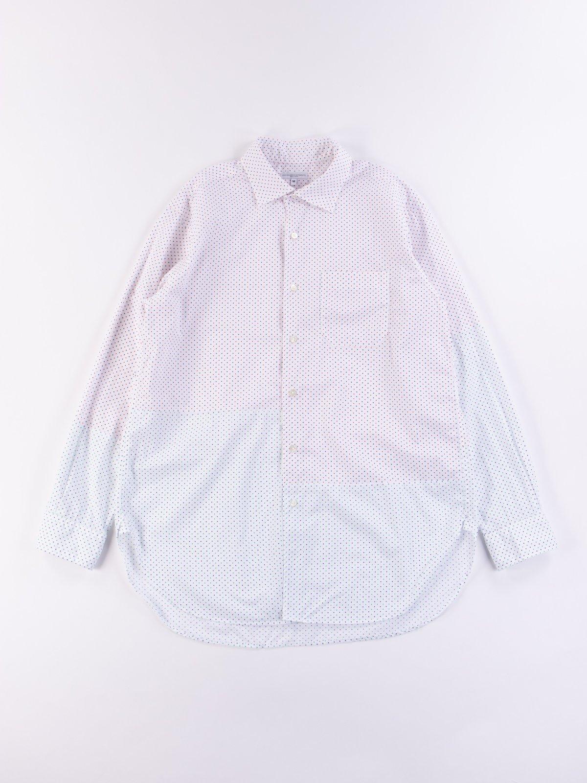 Red/Navy Small Polka Dot Spread Collar Shirt - Image 1