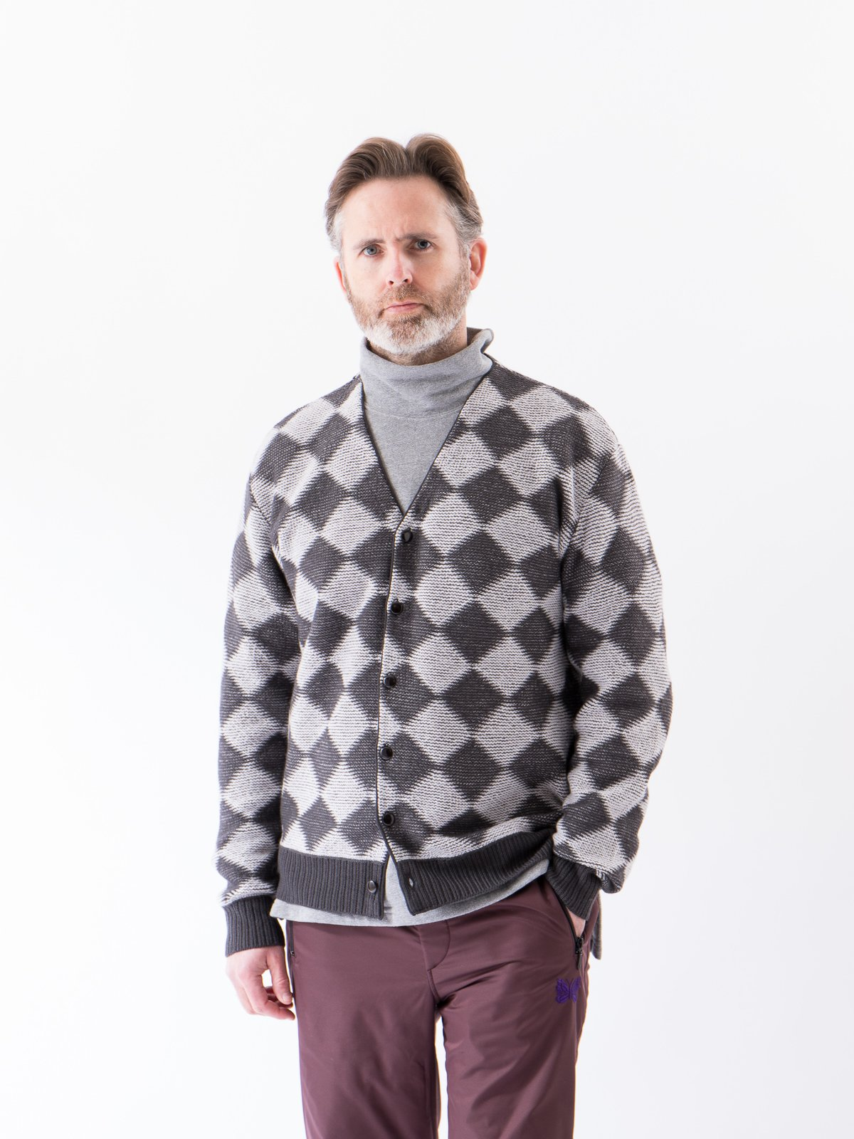 Charcoal Checkered V Neck Cardigan - Image 2