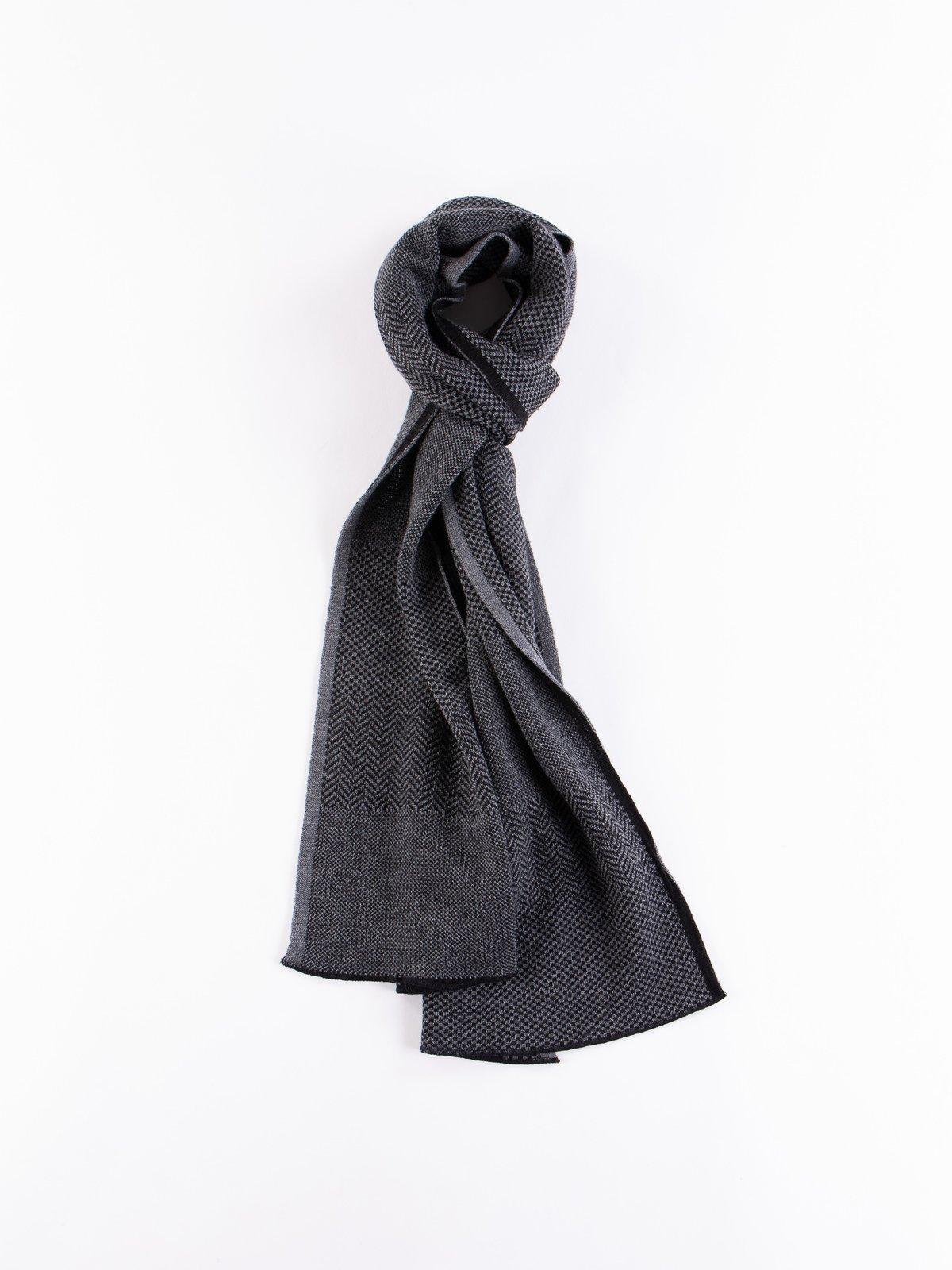 Charcoal Wool Herringbone Knit Scarf - Image 1