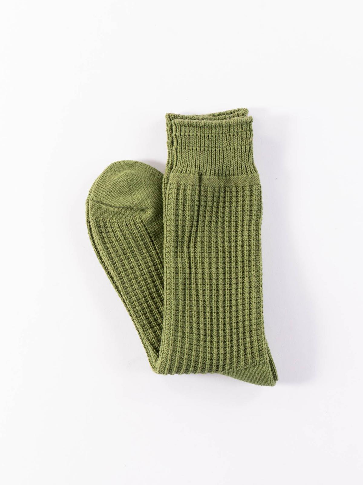 RoToTo Cotton Waffle Socks Olive