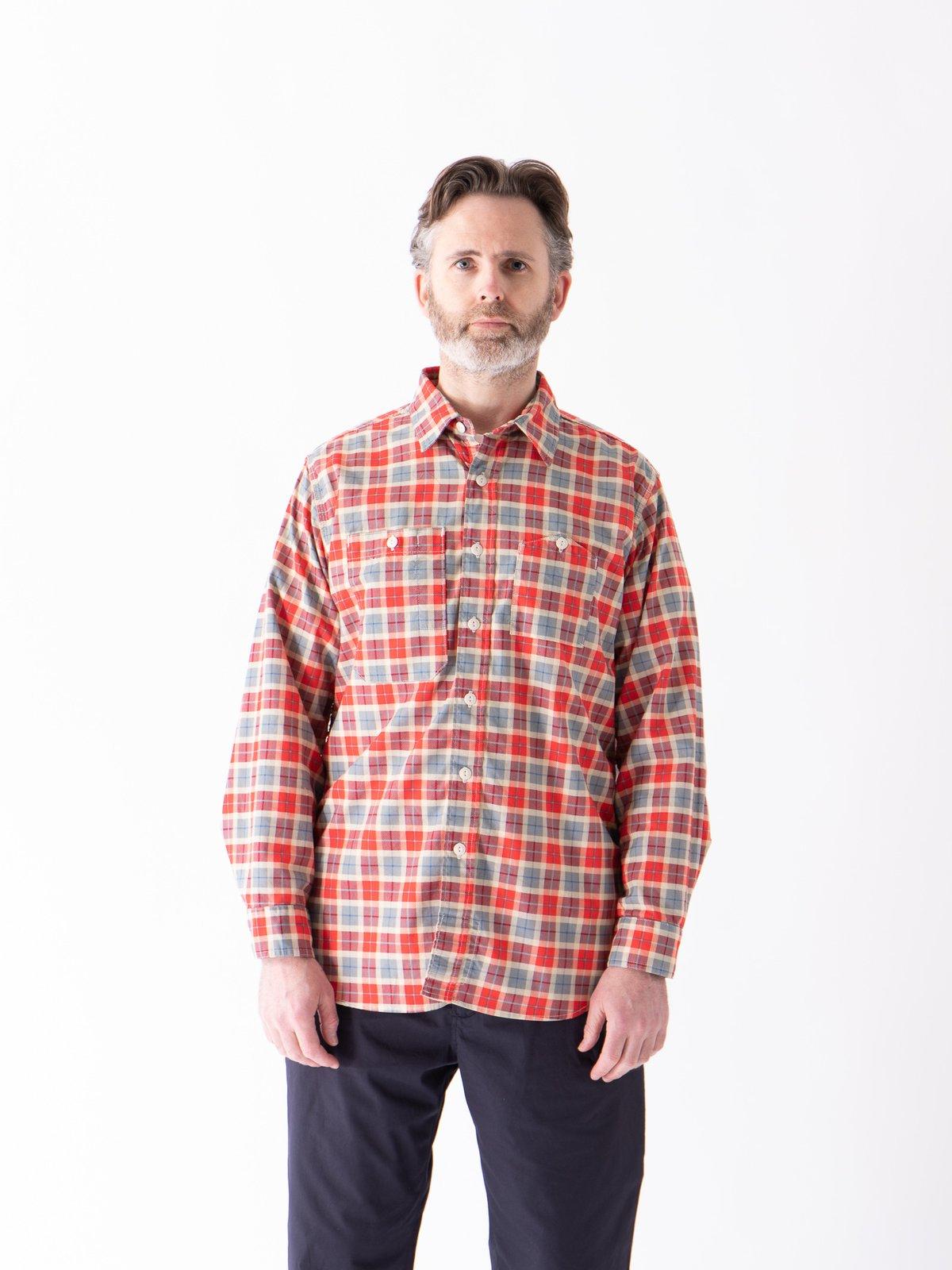 Red/Beige Cotton Printed Plaid Work Shirt - Image 2
