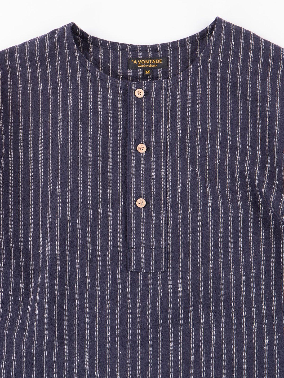 Dark Navy Stripe Henley SS Shirt - Image 2