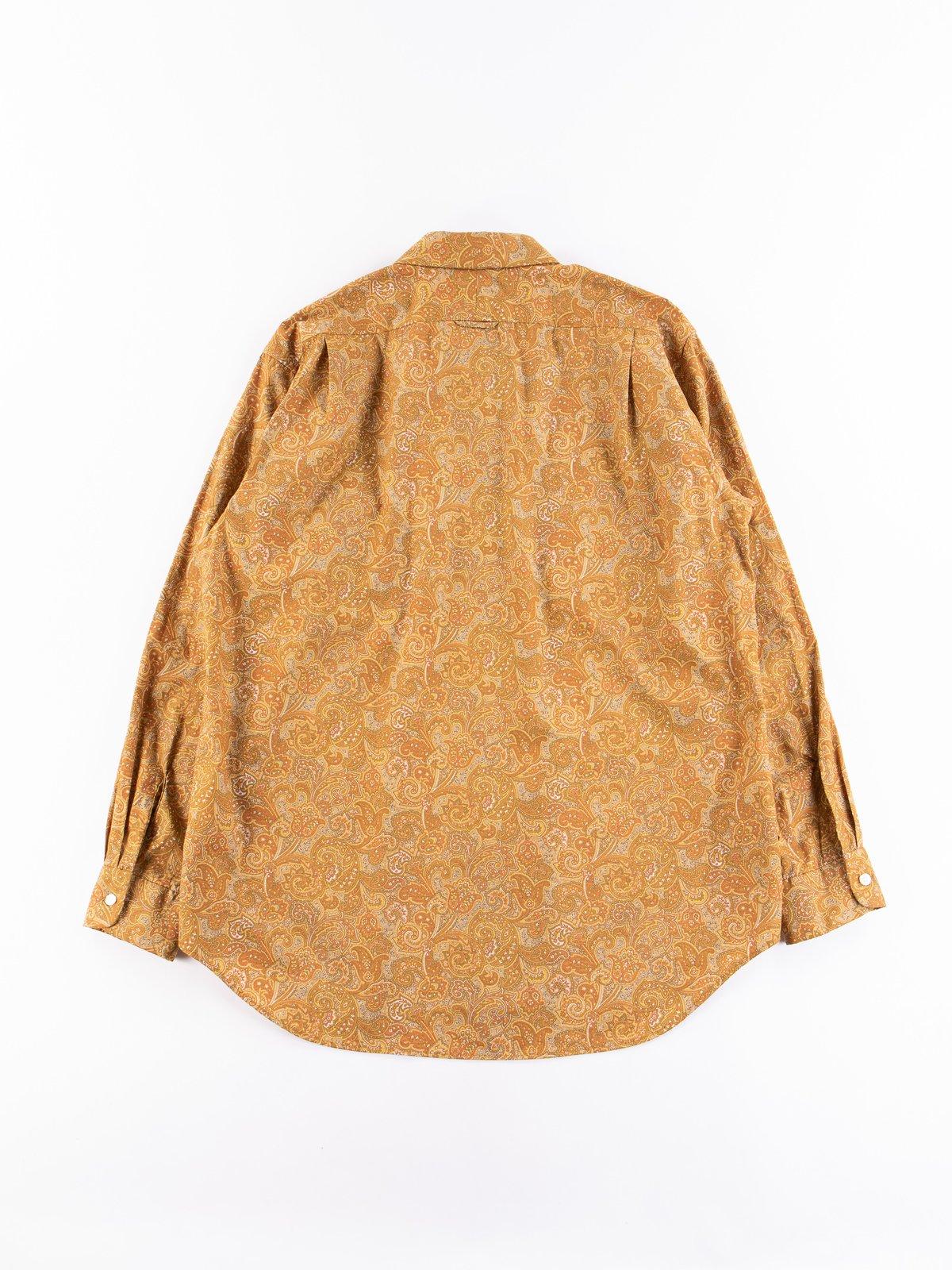 Tan/Olive Cotton Paisley Print Short Collar Shirt - Image 5
