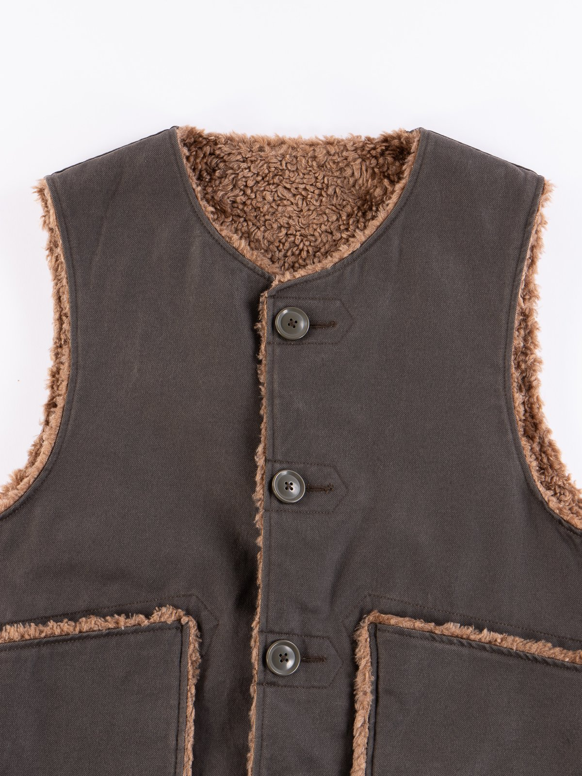 Dark Olive Coated Twill Over Vest - Image 3