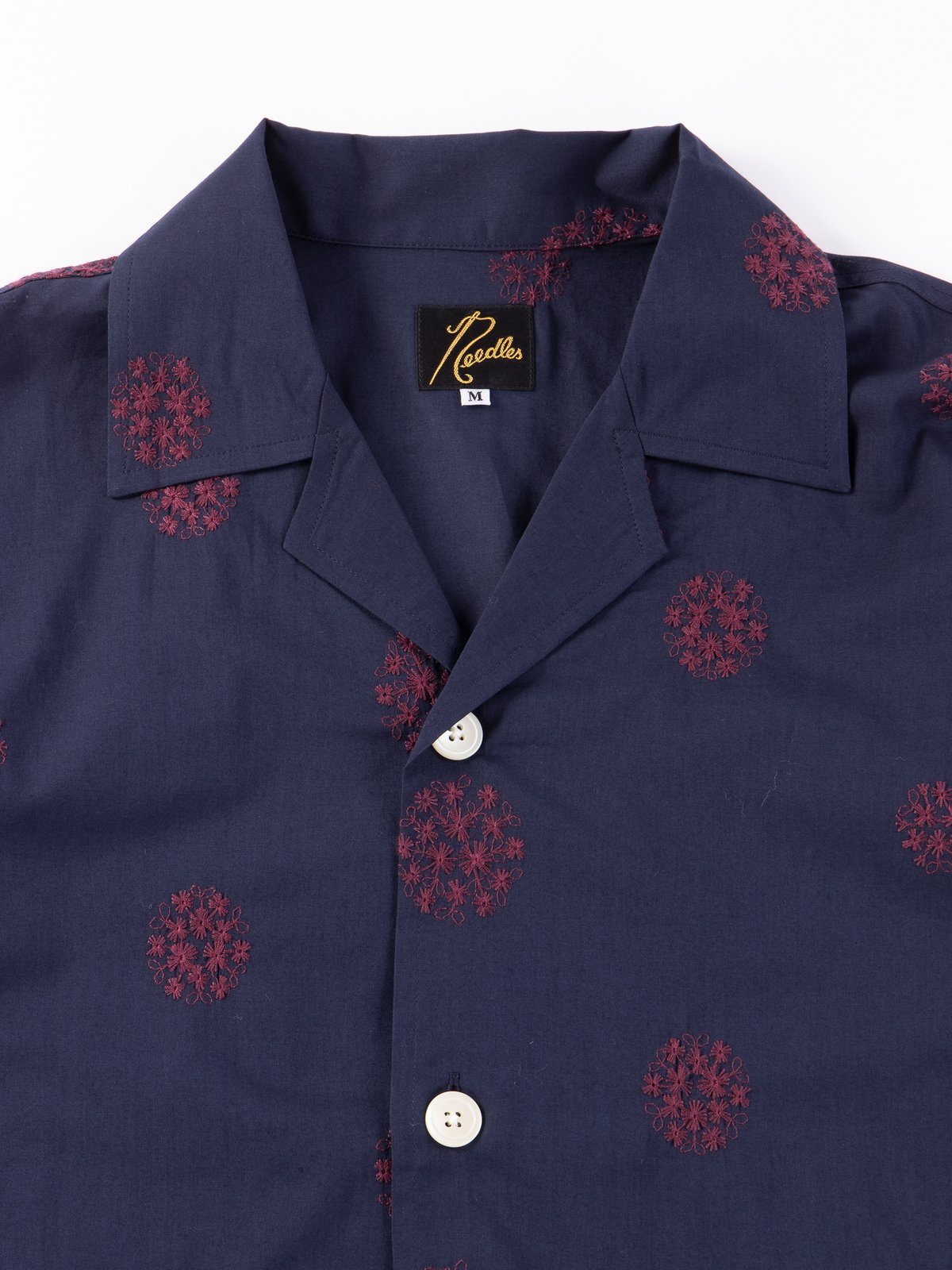 Navy Floral Dot Embroidered Cabana Shirt - Image 2