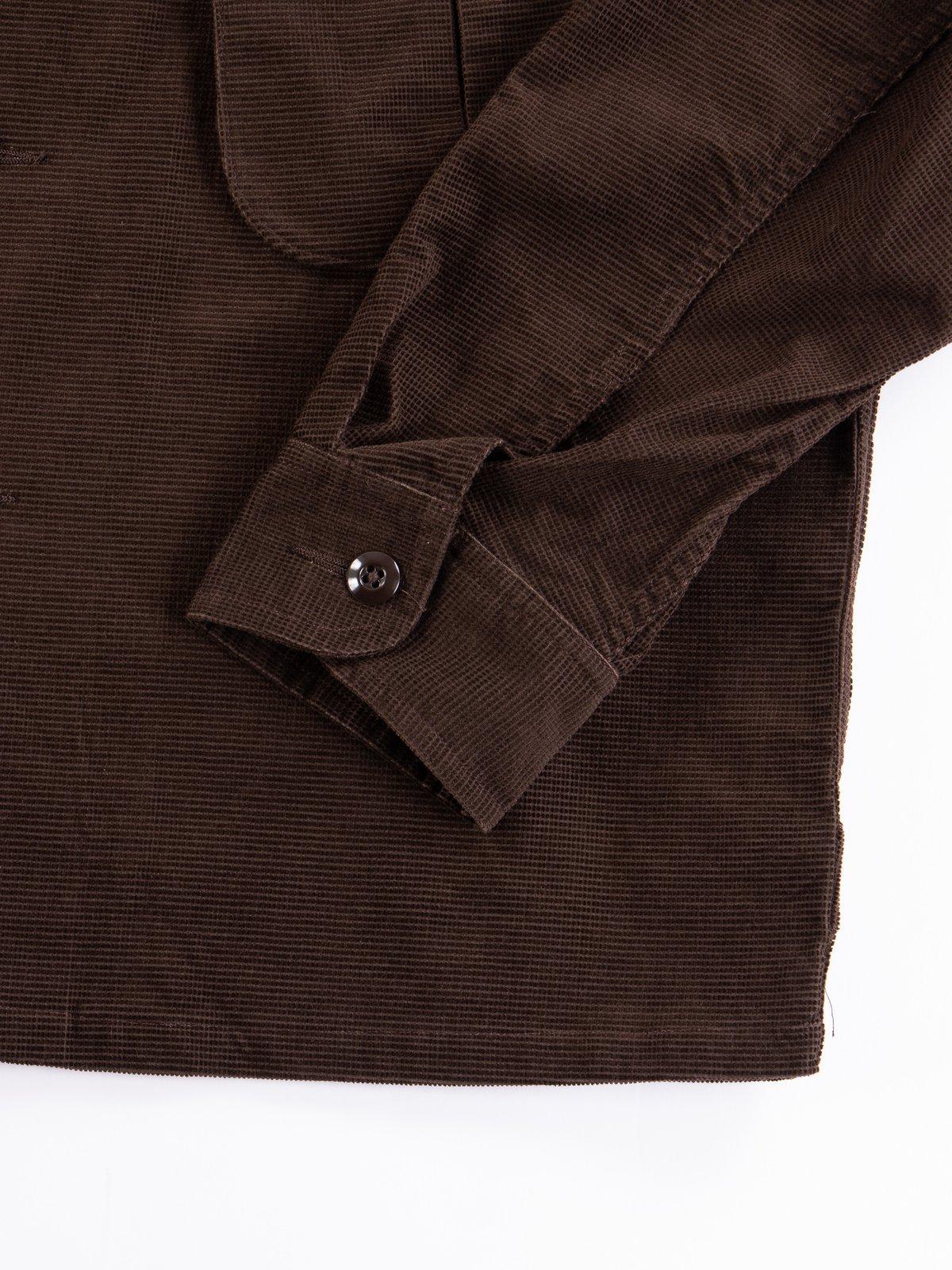 Dark Brown Dobby Caramel Corduroy Combat Short Jacket - Image 5