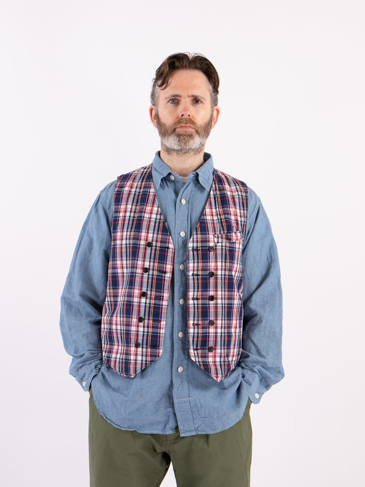 Navy/White/Red Plaid Poplin Reversible Vest - Image 2