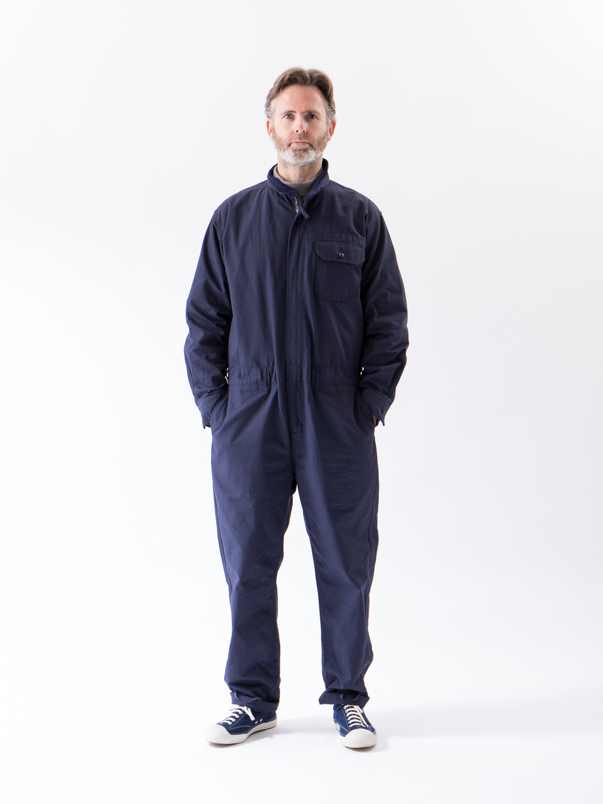 Dark Navy Cotton Ripstop Boiler Suit - Image 2