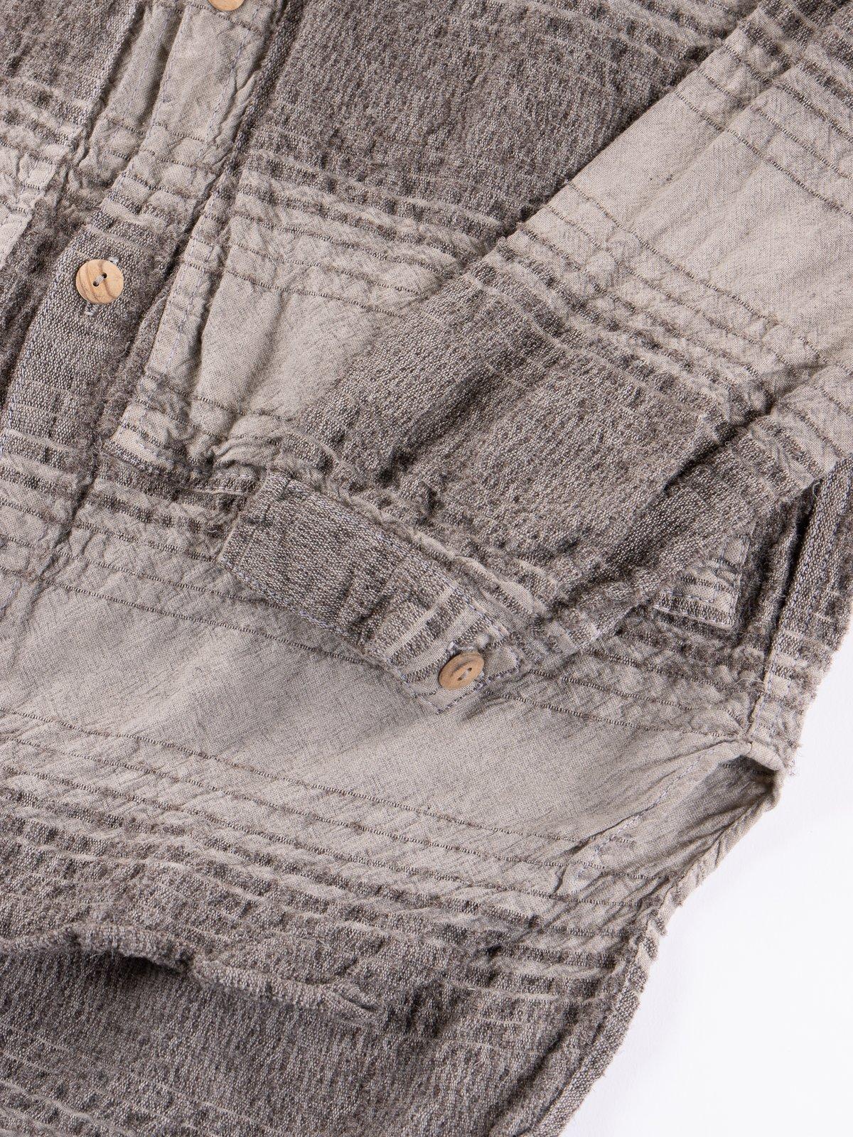 Indian Black Dye Doppler Stripe Calico Periscope Pocket Tail Shirt - Image 5