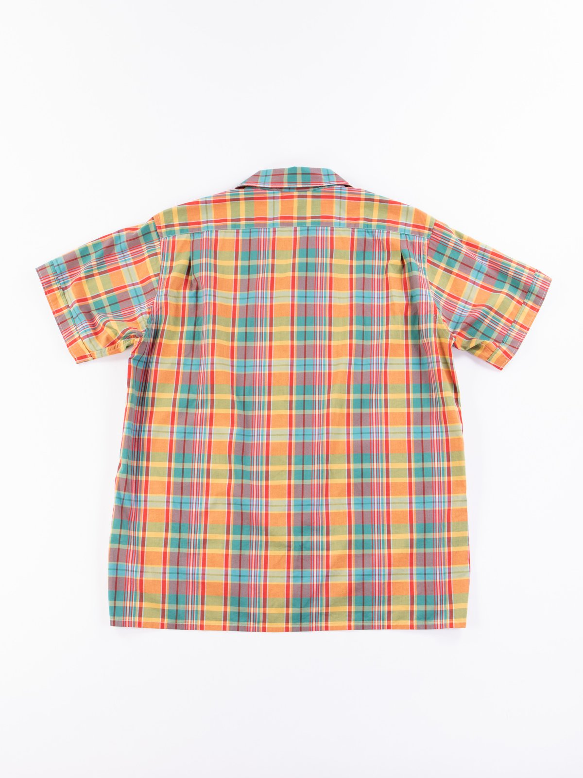 Orange Plaid Cotton Broadcloth Camp Shirt - Image 7