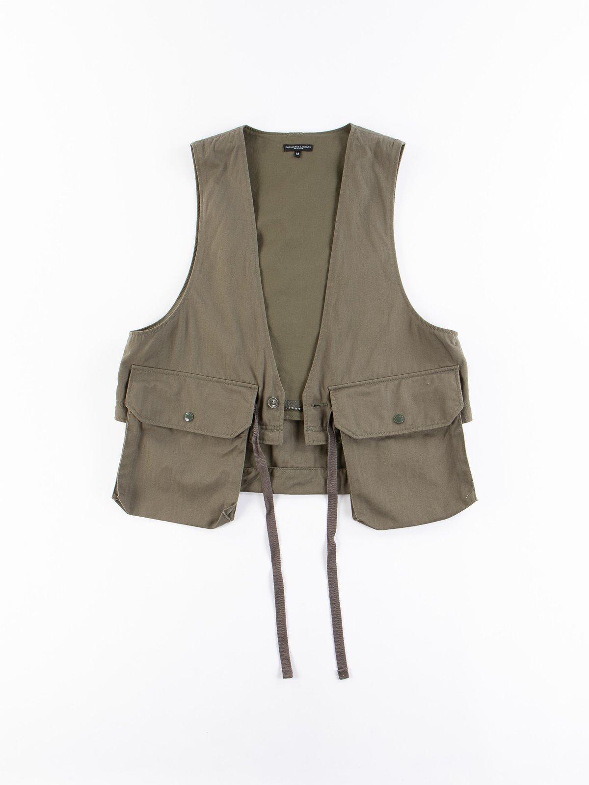 Olive Cotton Herringbone Twill Long Fowl Vest - Image 9