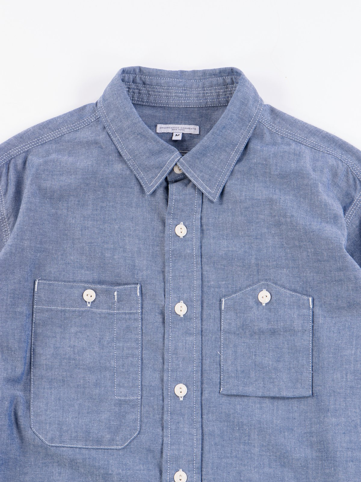 Blue Cotton Chambray Work Shirt - Image 3