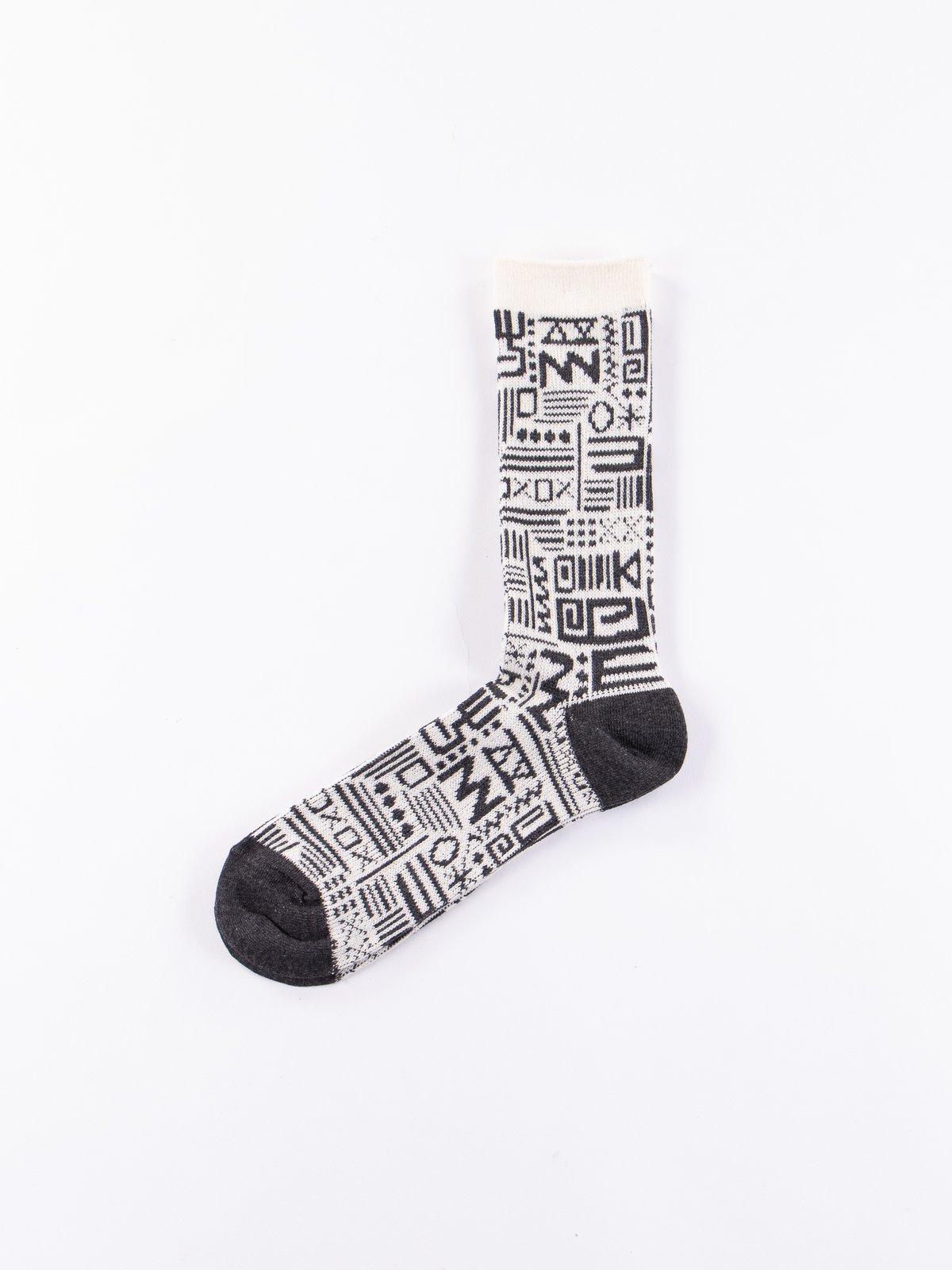 Off White Aztec Knit Socks - Image 1