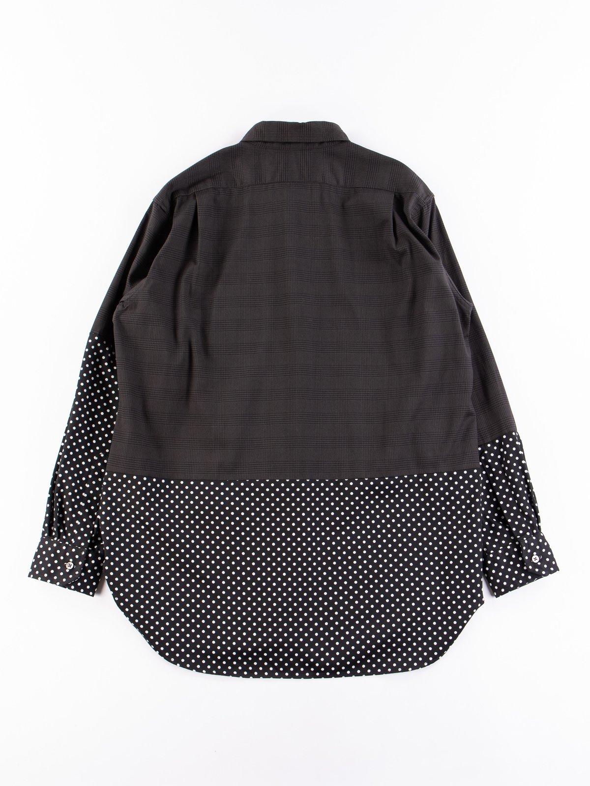 Grey Twill Printed Glen Plaid Spread Collar Shirt - Image 5