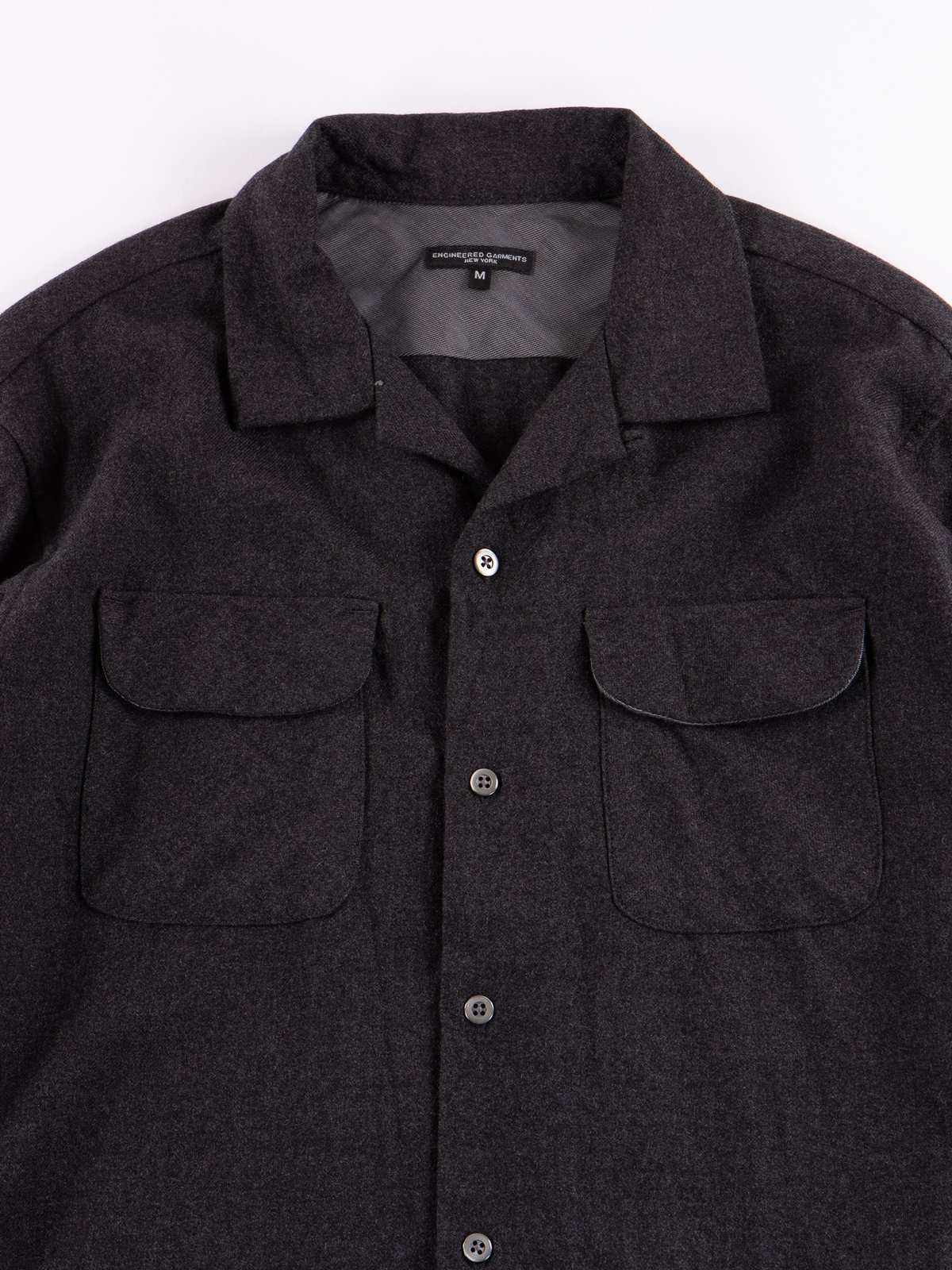 Charcoal Heather Worsted Wool Flannel Classic Shirt - Image 3