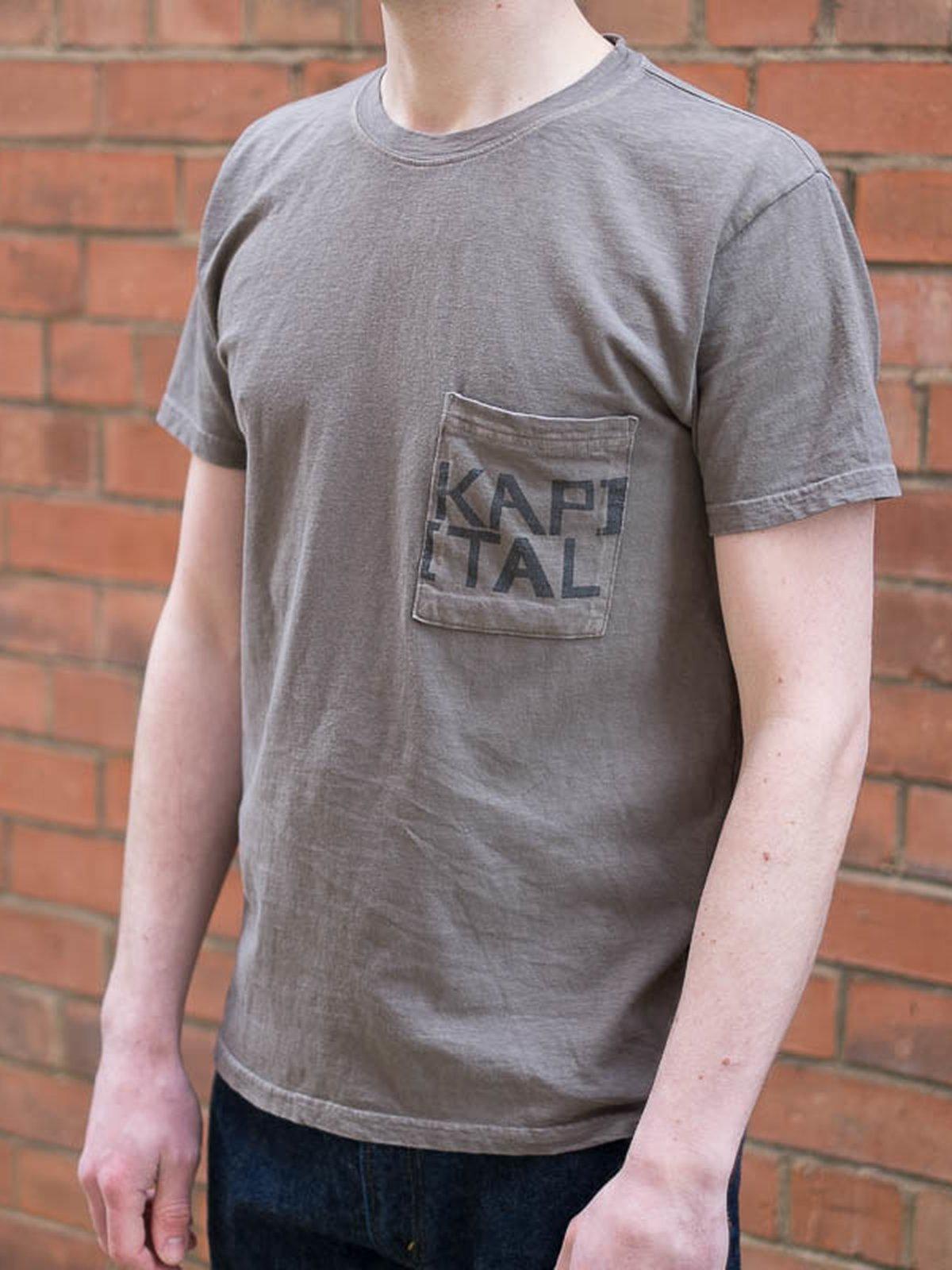 Charcoal Grey Kapital Jersey Crew Pocket T–Shirt - Image 5
