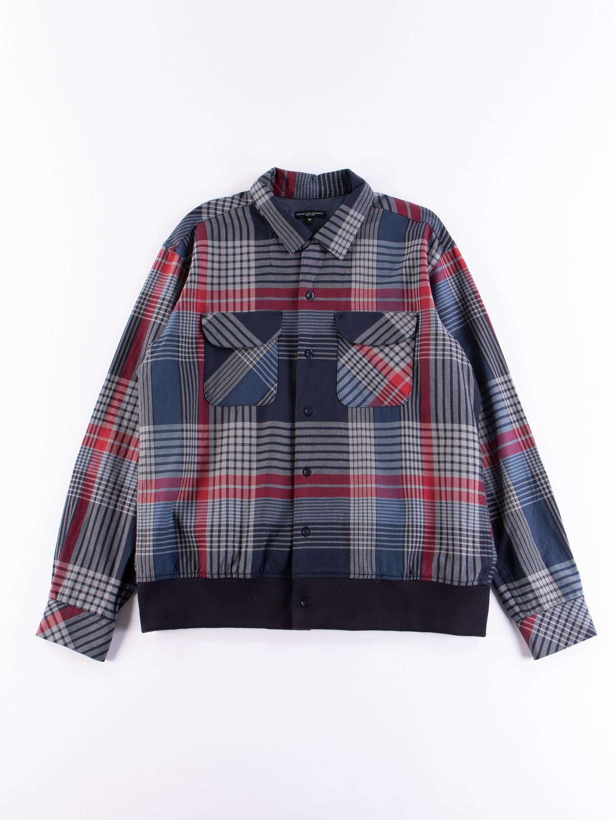 Navy/Grey/Red Cotton Twill Classic Shirt - Image 1