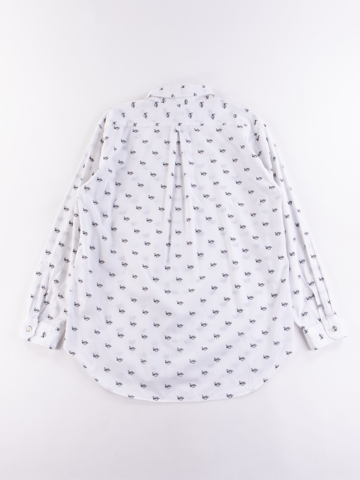 White Trumpet Embroidery Broadcloth Tab Collar Shirt - Image 5