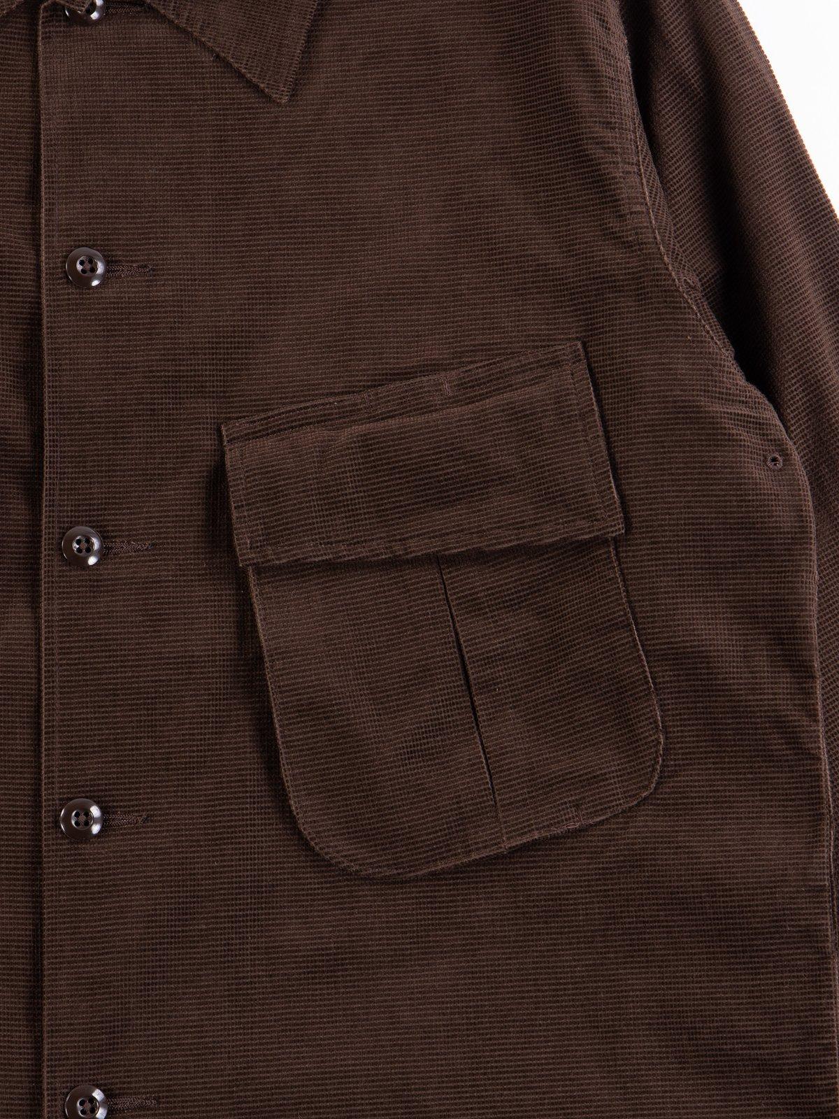Dark Brown Dobby Caramel Corduroy Combat Short Jacket - Image 4