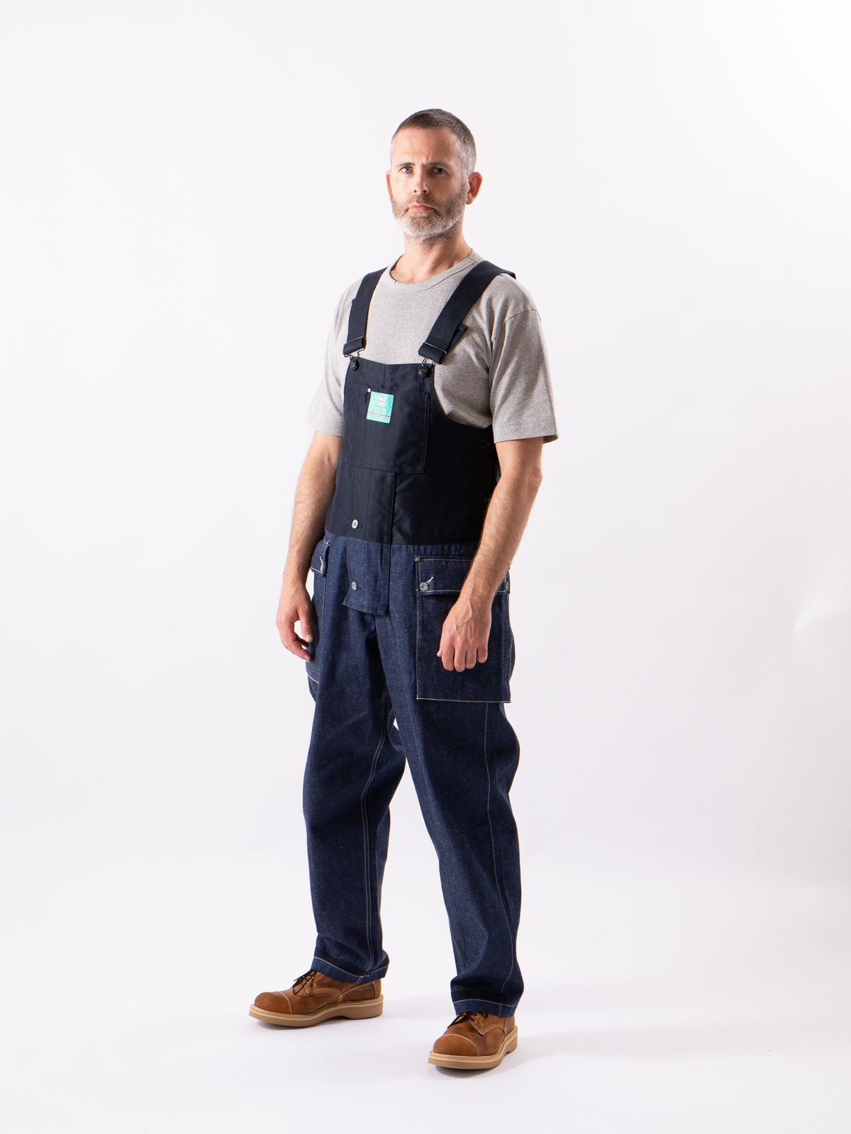 Lybro Split Denim/Navy Sateen Naval Dungaree - Image 2