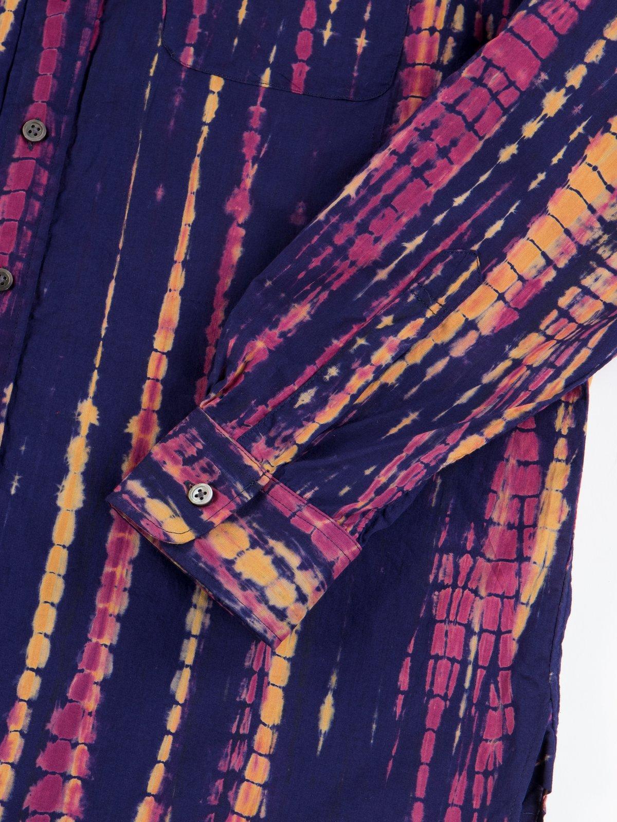Navy Cotton Lawn Batik Stripe 19th Century BD Shirt - Image 4