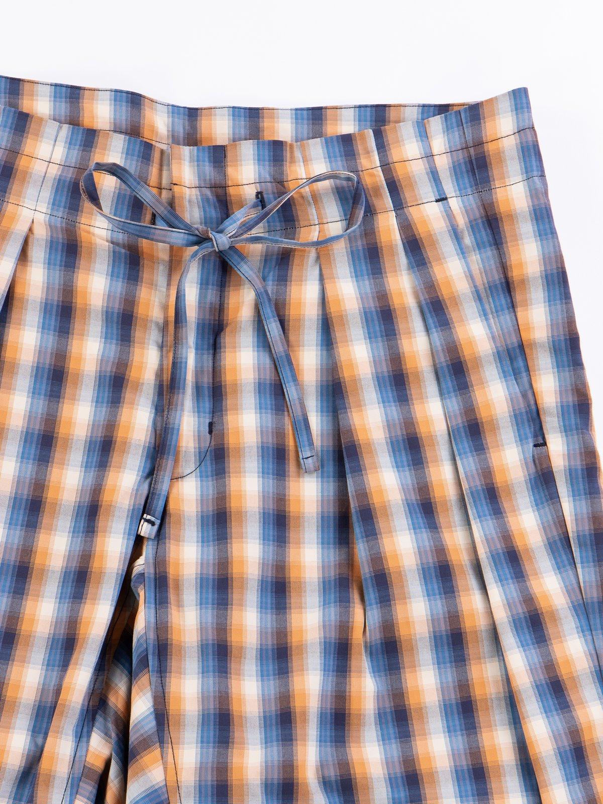 Blue/Orange Plaid Oxford Vancloth Drop Crotch Shorts - Image 3