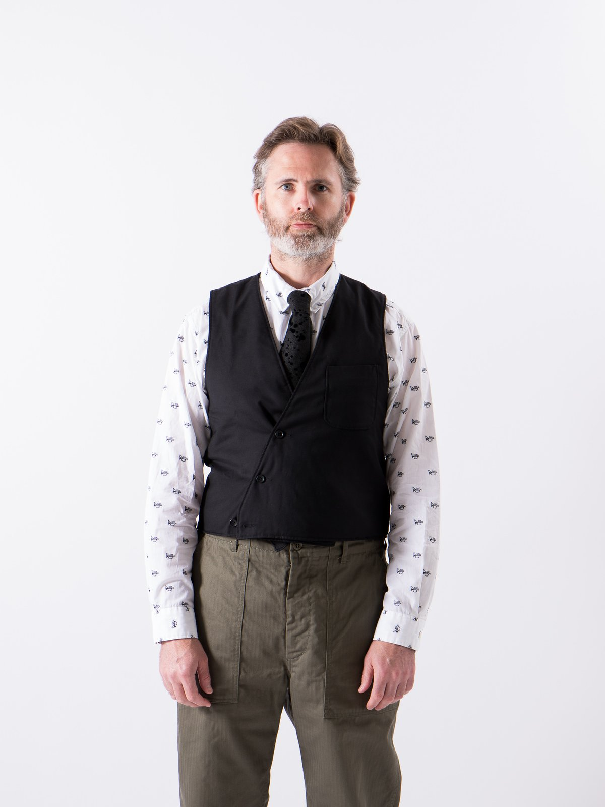 Black Worsted Wool Gabardine Reversible Vest - Image 2